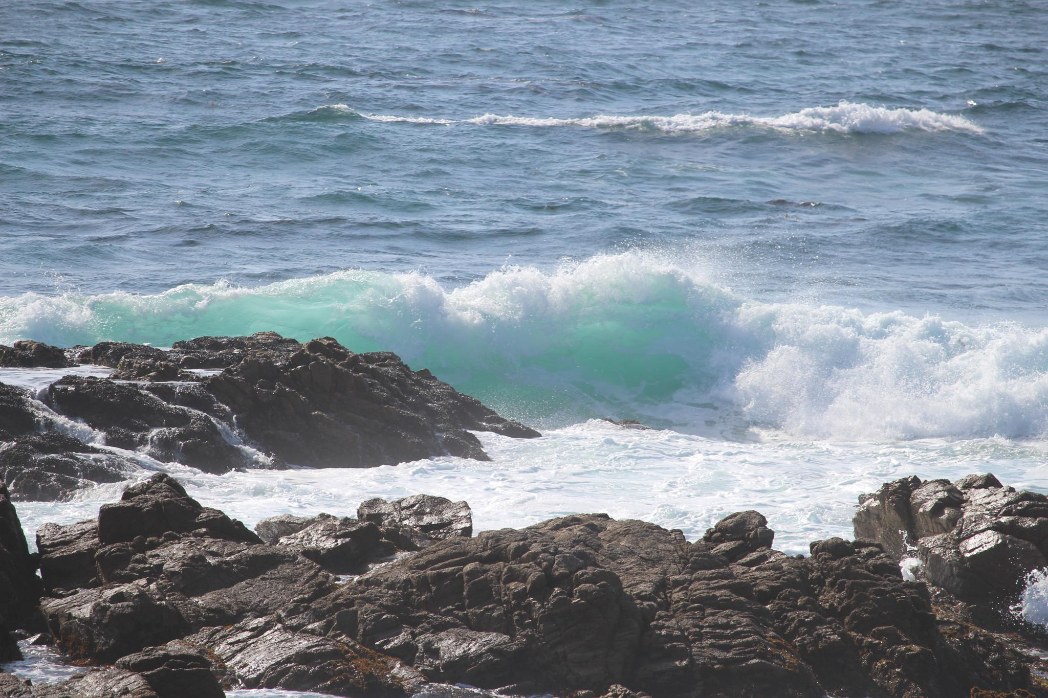 Aqua Wave and Rocks by Kristen Dewey Wright