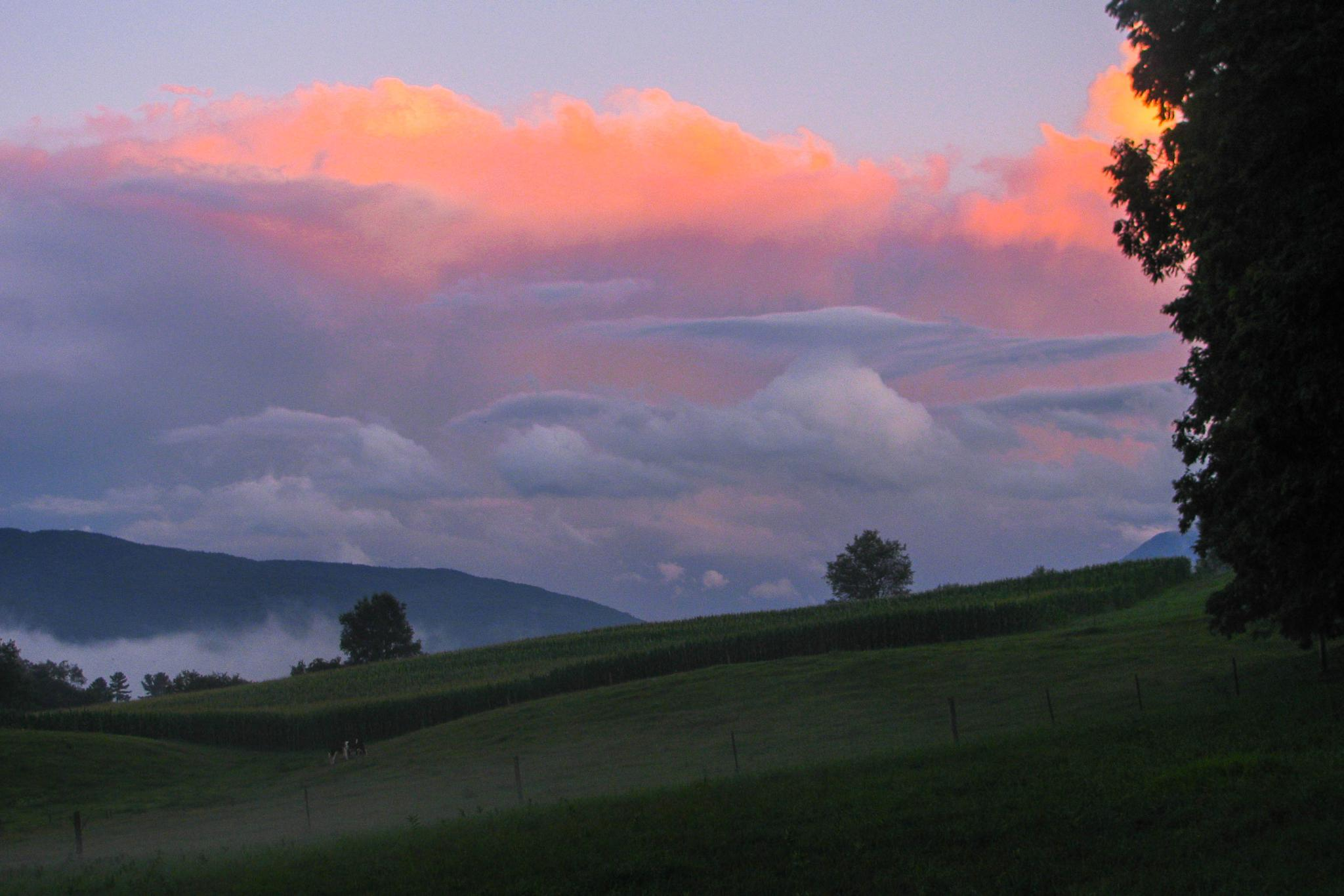 Photo in Landscape #hills #vermont #clouds #sunset