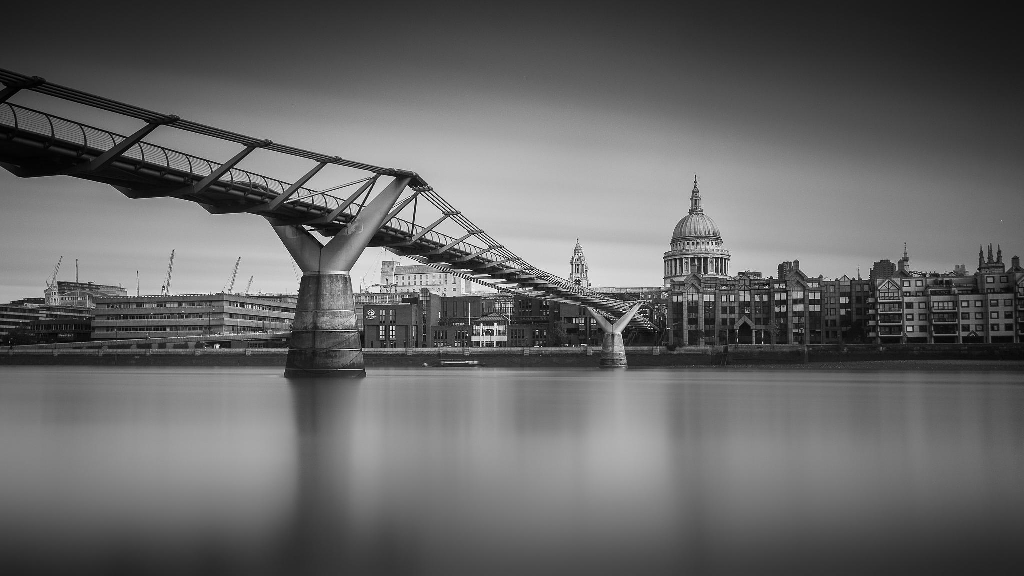 Photo in Black and White #millennium bridge #london #river thames #cityscape #long exposure #st pauls cathedral #wren #architecture #bw #mono