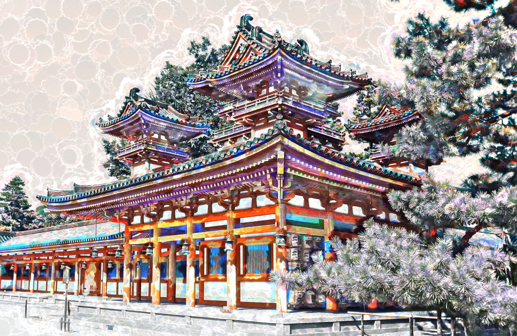 Heian Shrine Enchanted by Herbert Stachelberger