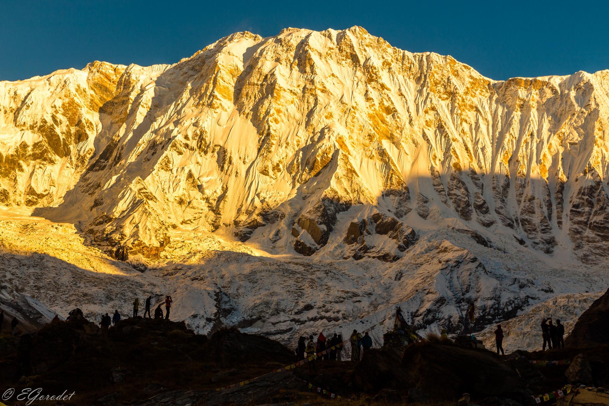 Metting sunrise at the Annapurna Sanctuary by Evgeny Gorodetsky