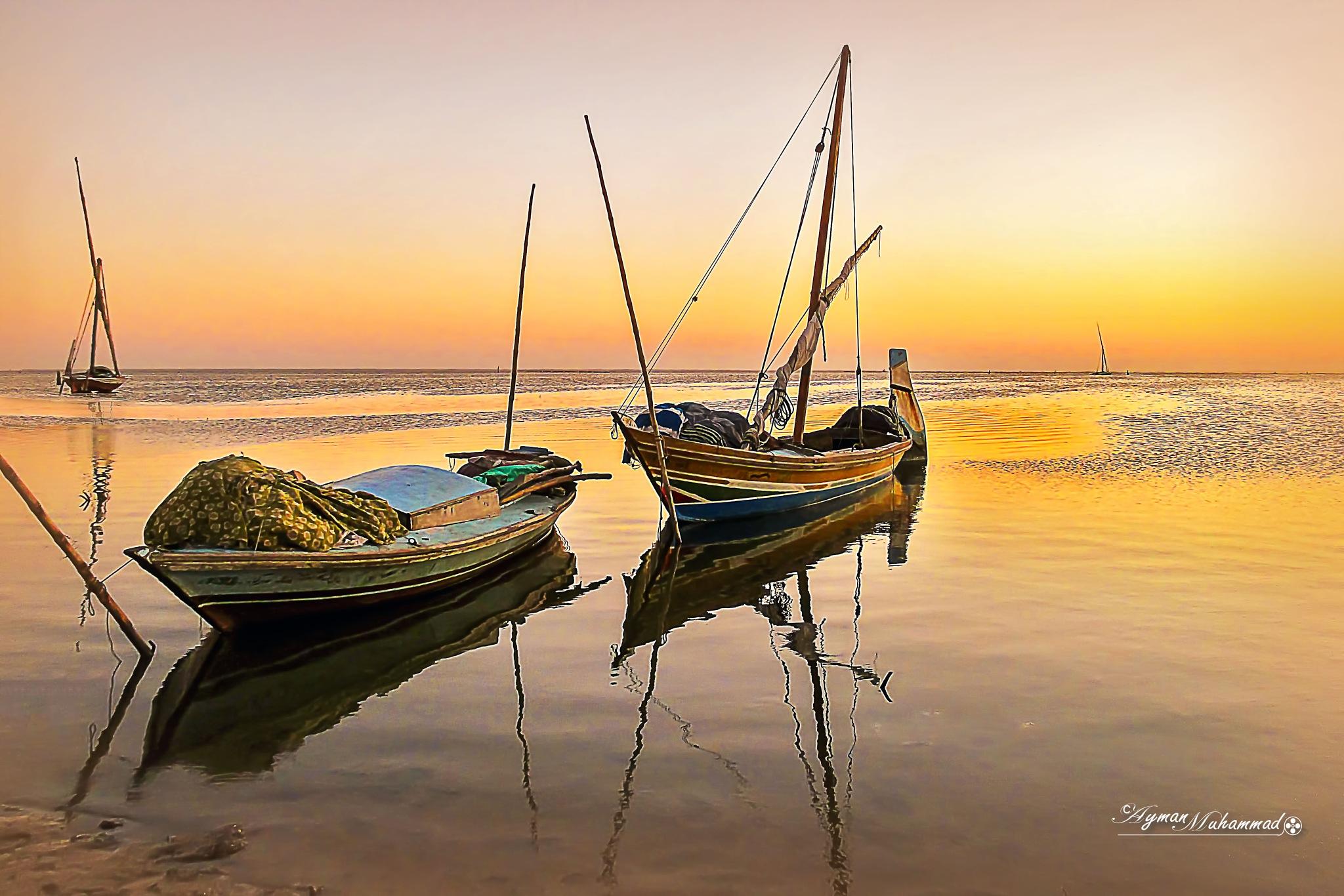 Magic of golden hour at lake .. New Edit by AymanMuhammad