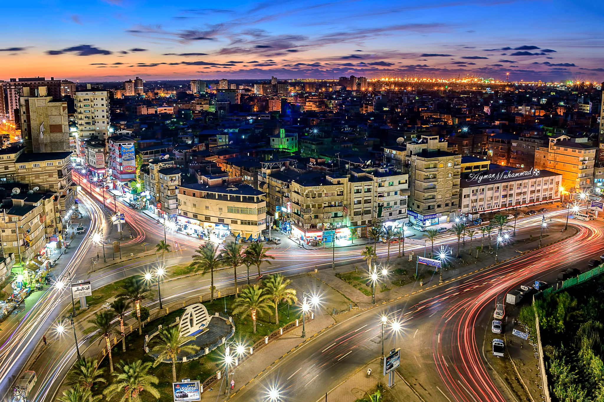 Streets of Damietta city at night from above +1 by AymanMuhammad
