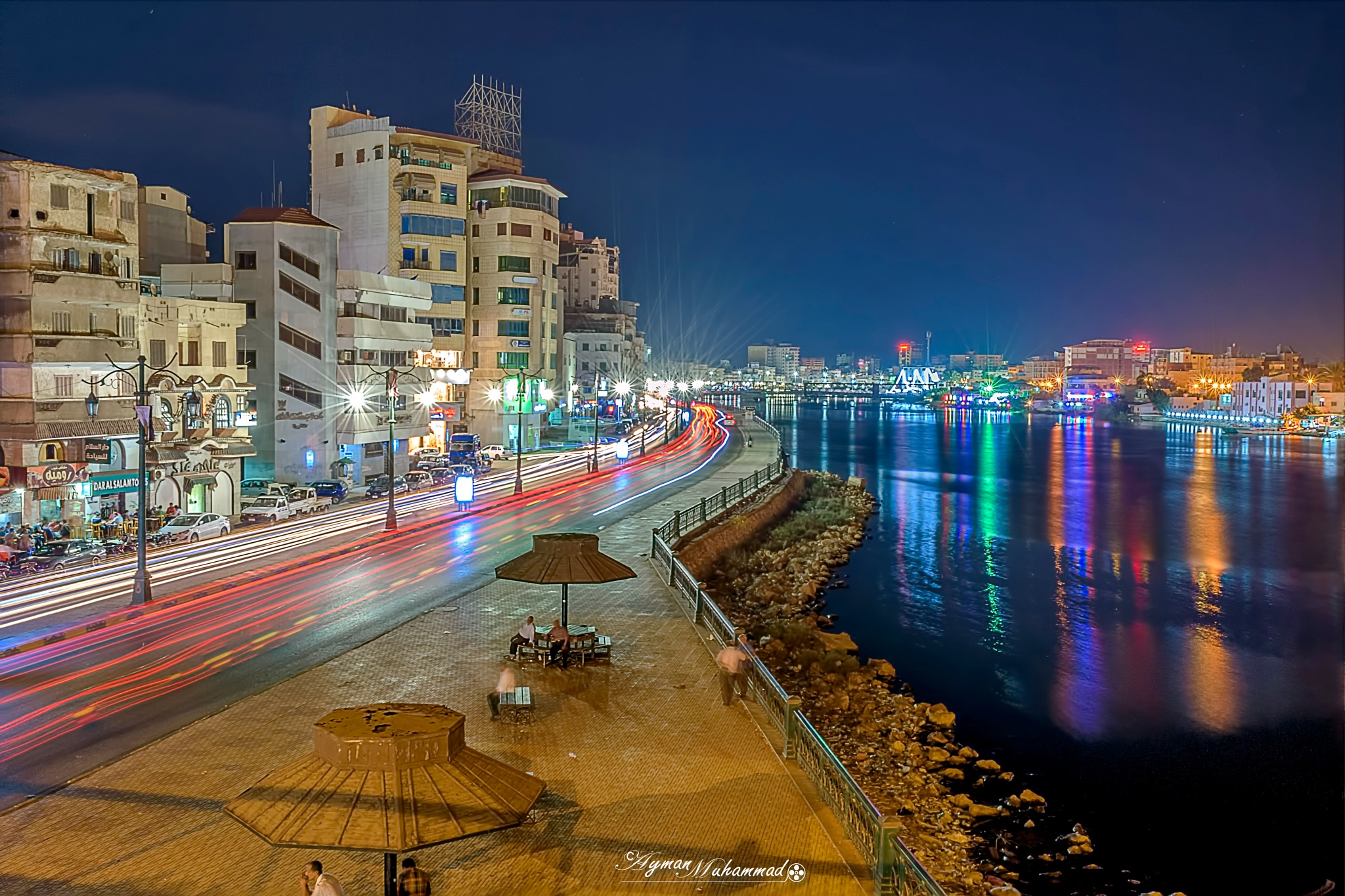 Streets of city by Nile at night +++ by AymanMuhammad