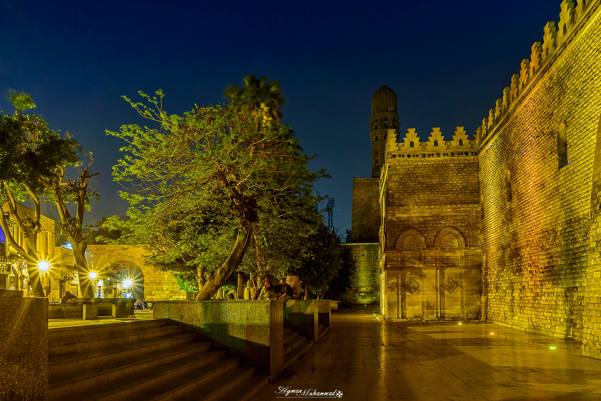 Moments beside Golden historic Mosques at night by AymanMuhammad