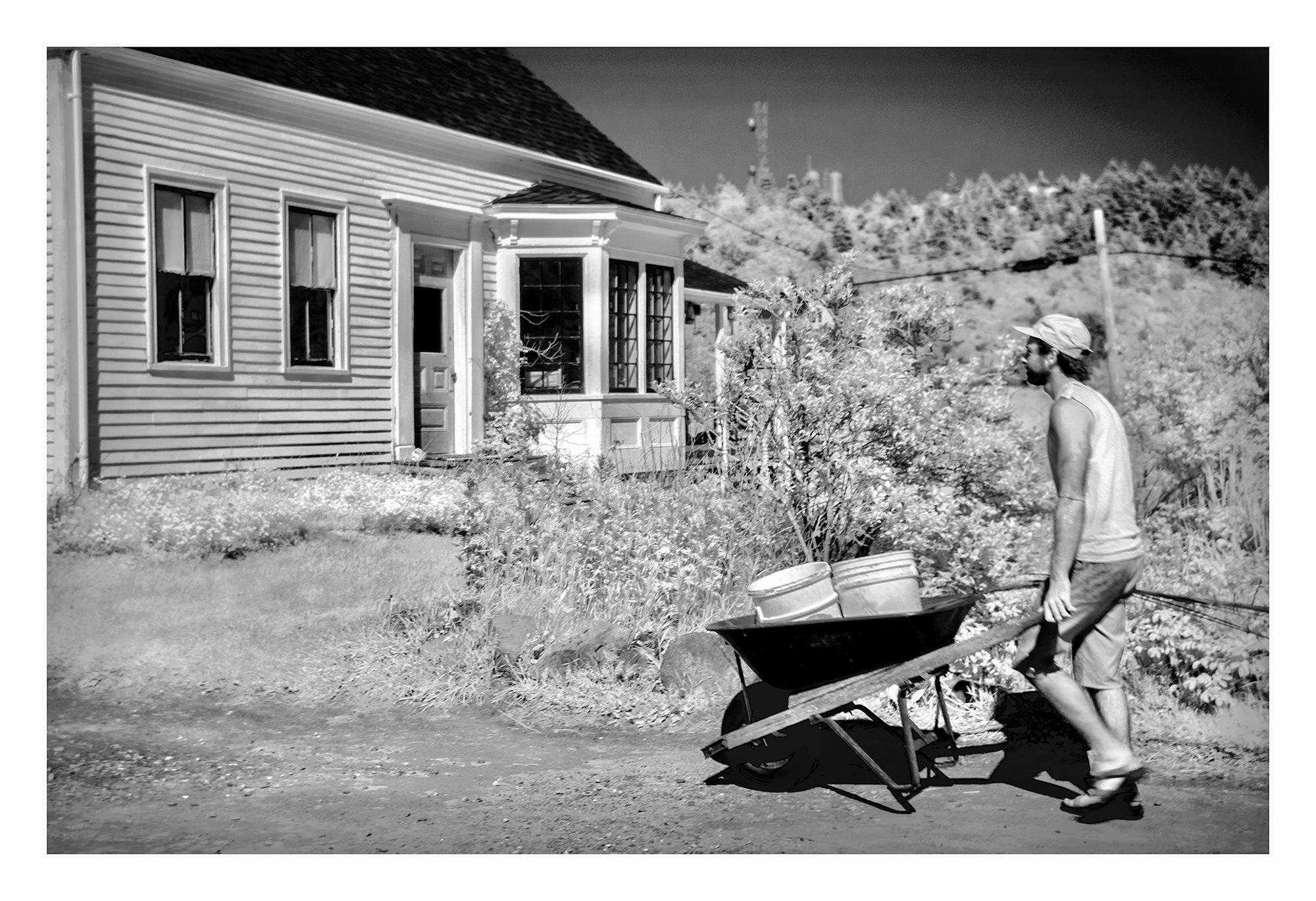Wheel Barrow, Main Street, Monhegan Island, Maine. Infrared. by Carol-Lynn Rössel