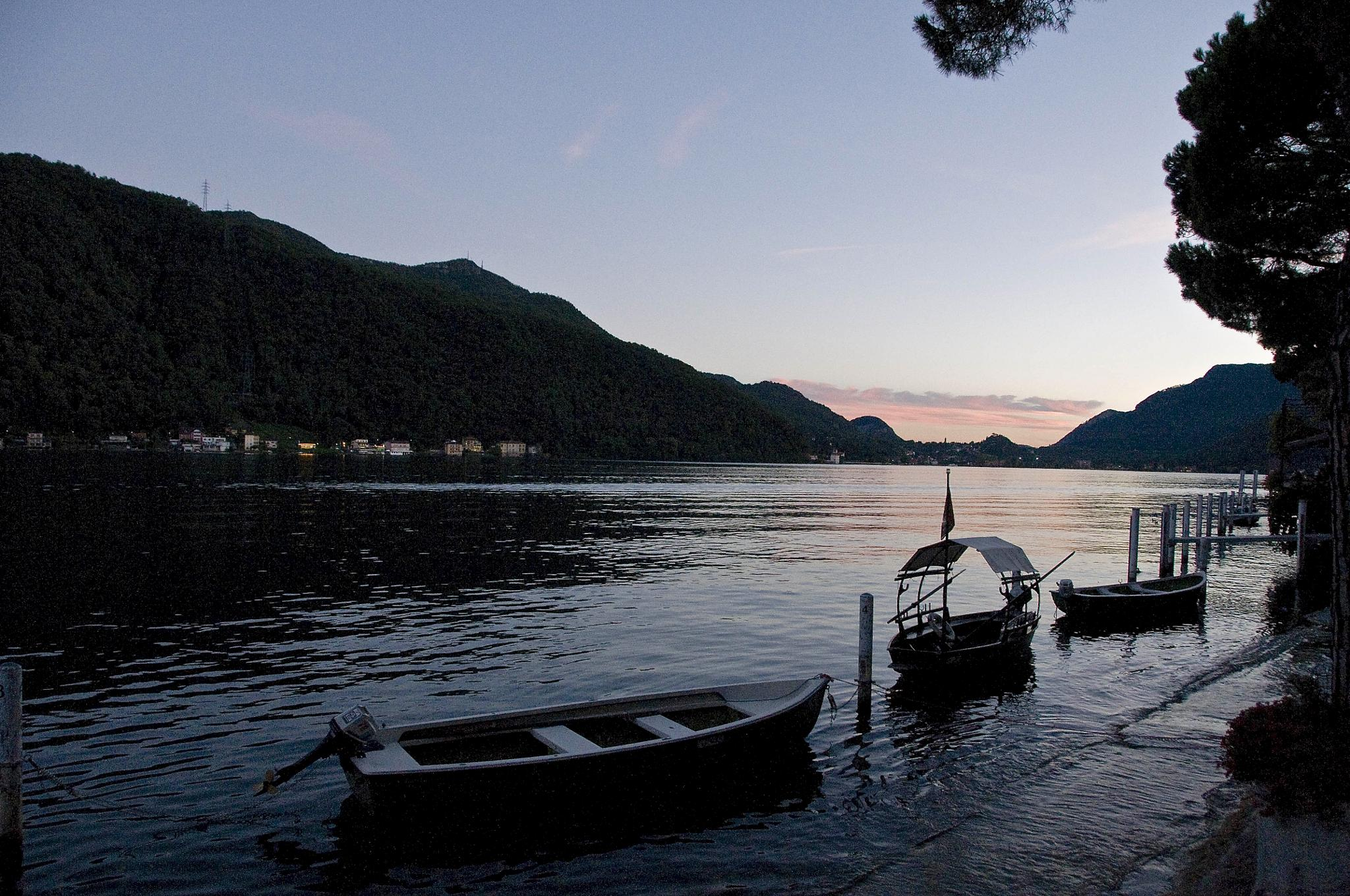 Evening on Lake Lugano by Riah