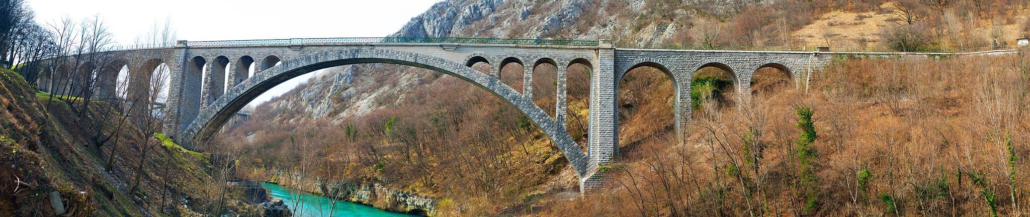 The Solkan bridge over the Soca river by Branko Dolinar