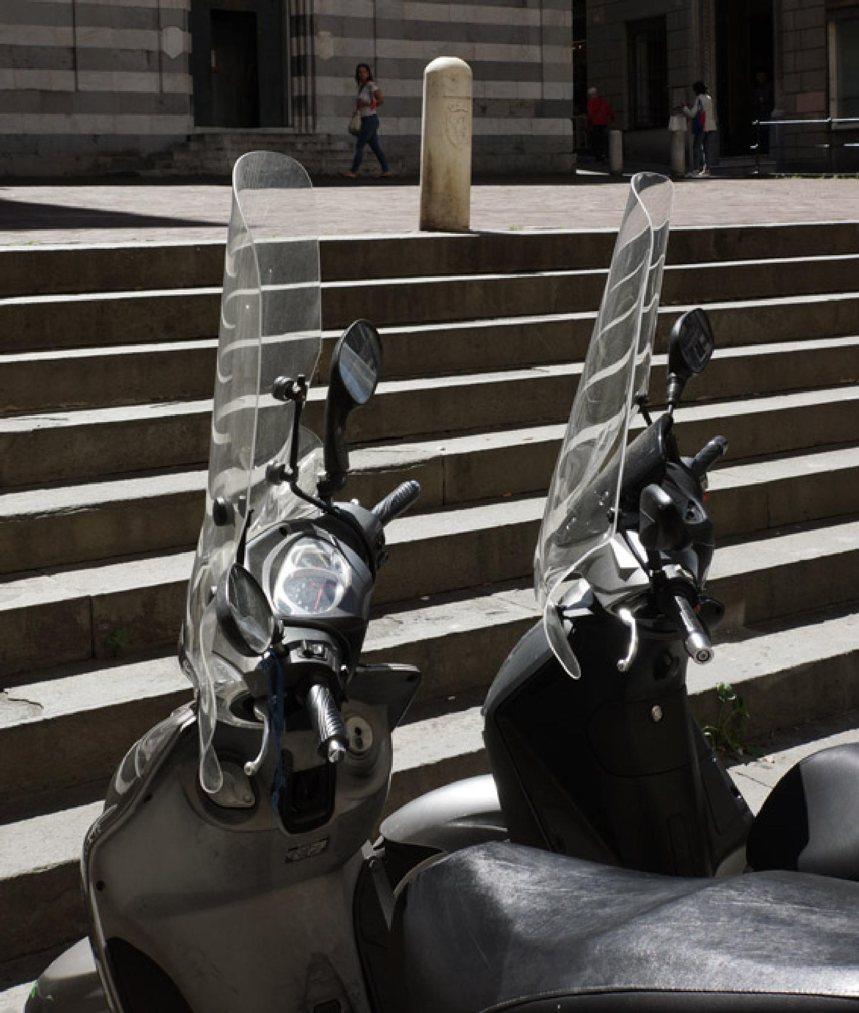 Photo in Random #motorbike #cityscape #shadows #geometry #steps