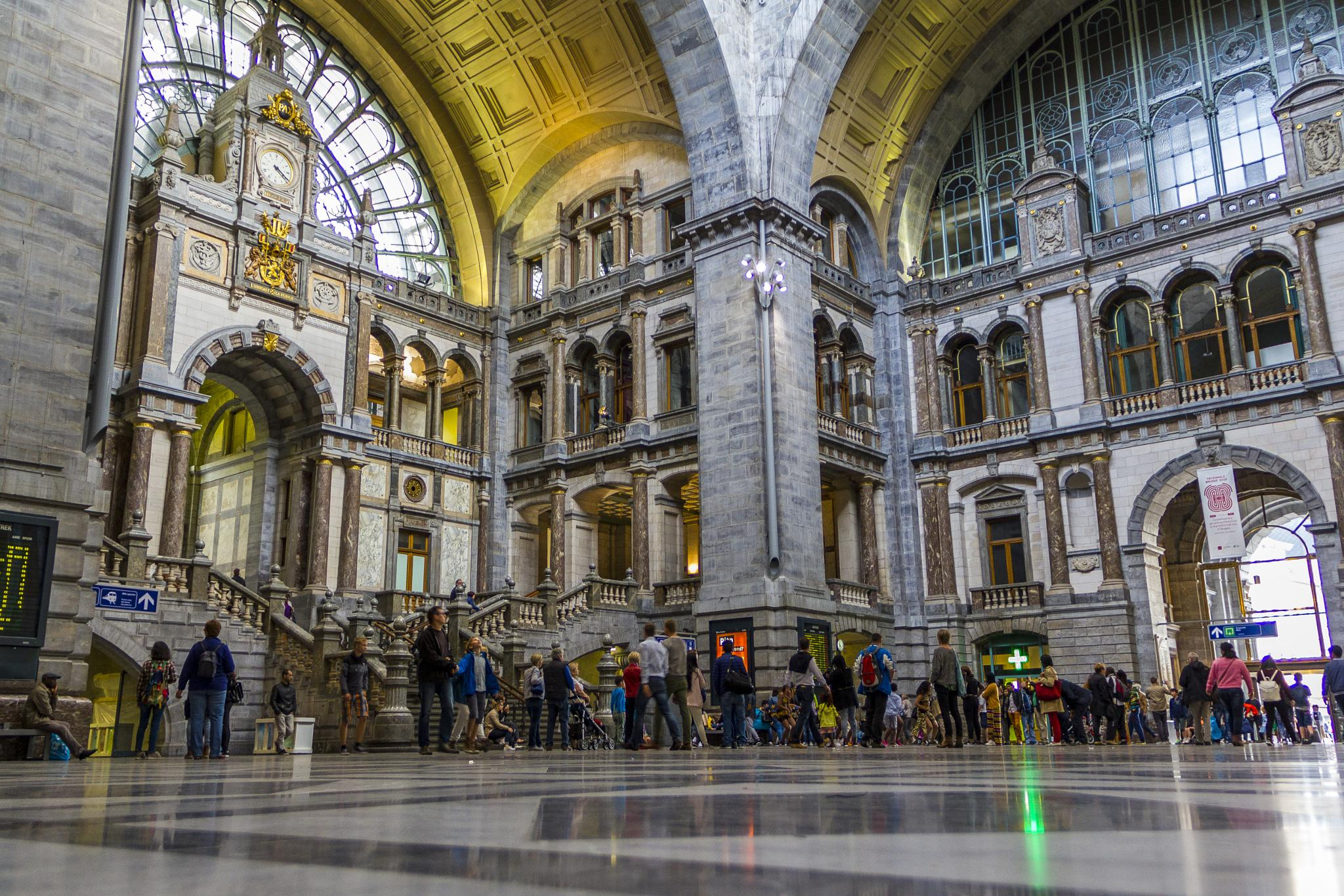 Photo in Architecture #station #transport #architecture #antwerpen #antwerp #belgium #europe #people #colour