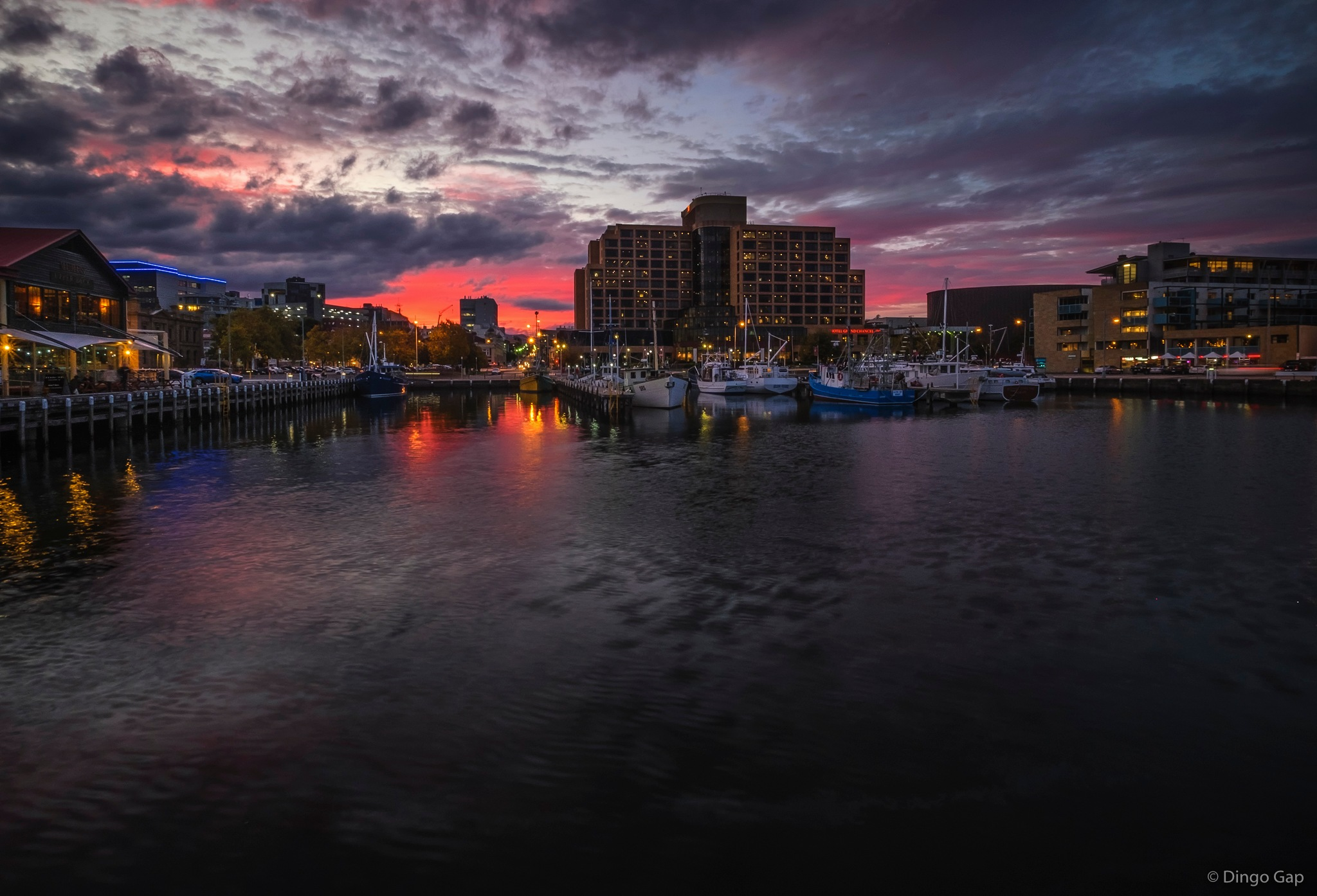 Sunset at Constitution Dock, Hobart by Peter Medbury