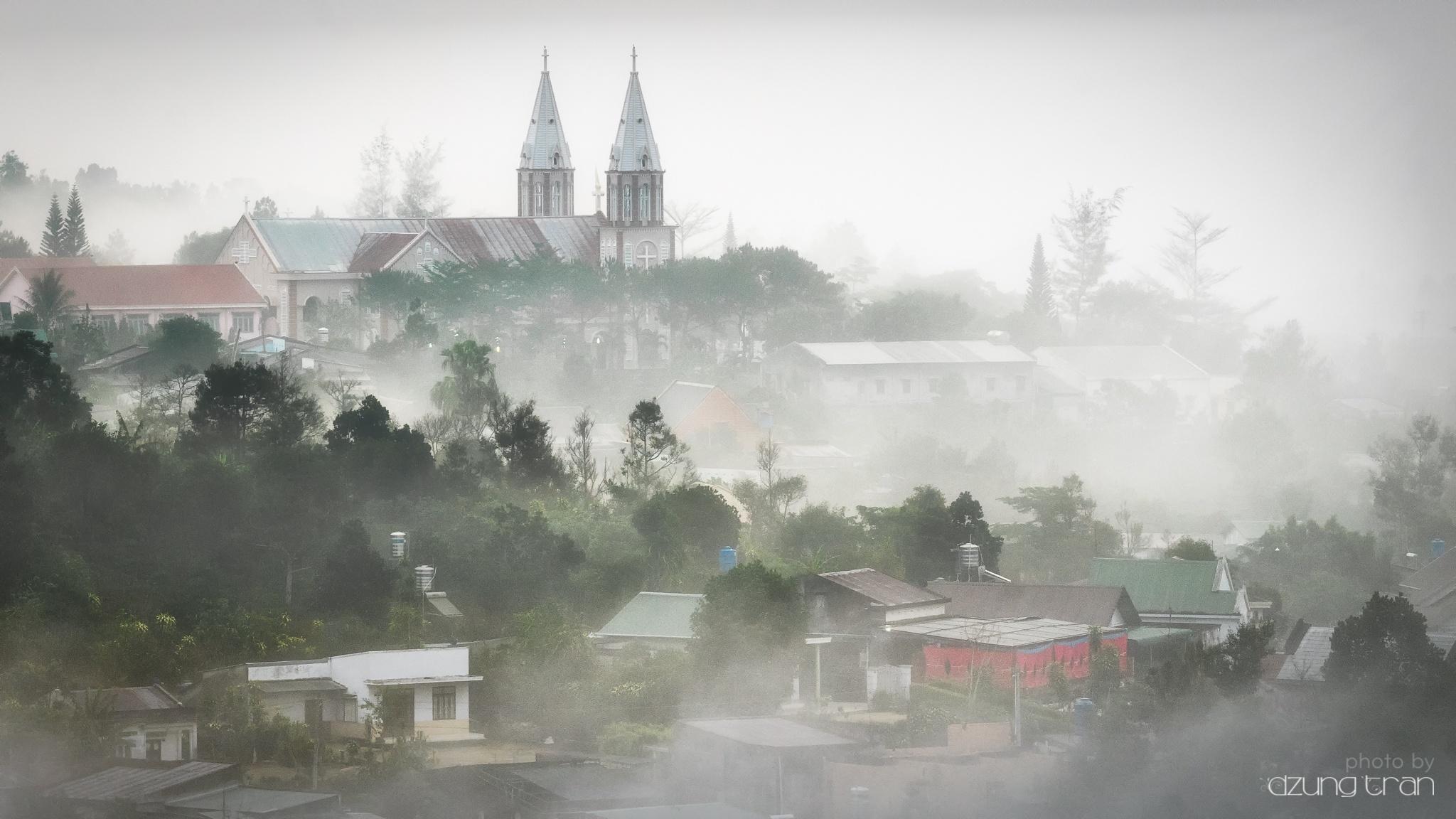 Thanh Xa Church in the mist by Dzung Tran