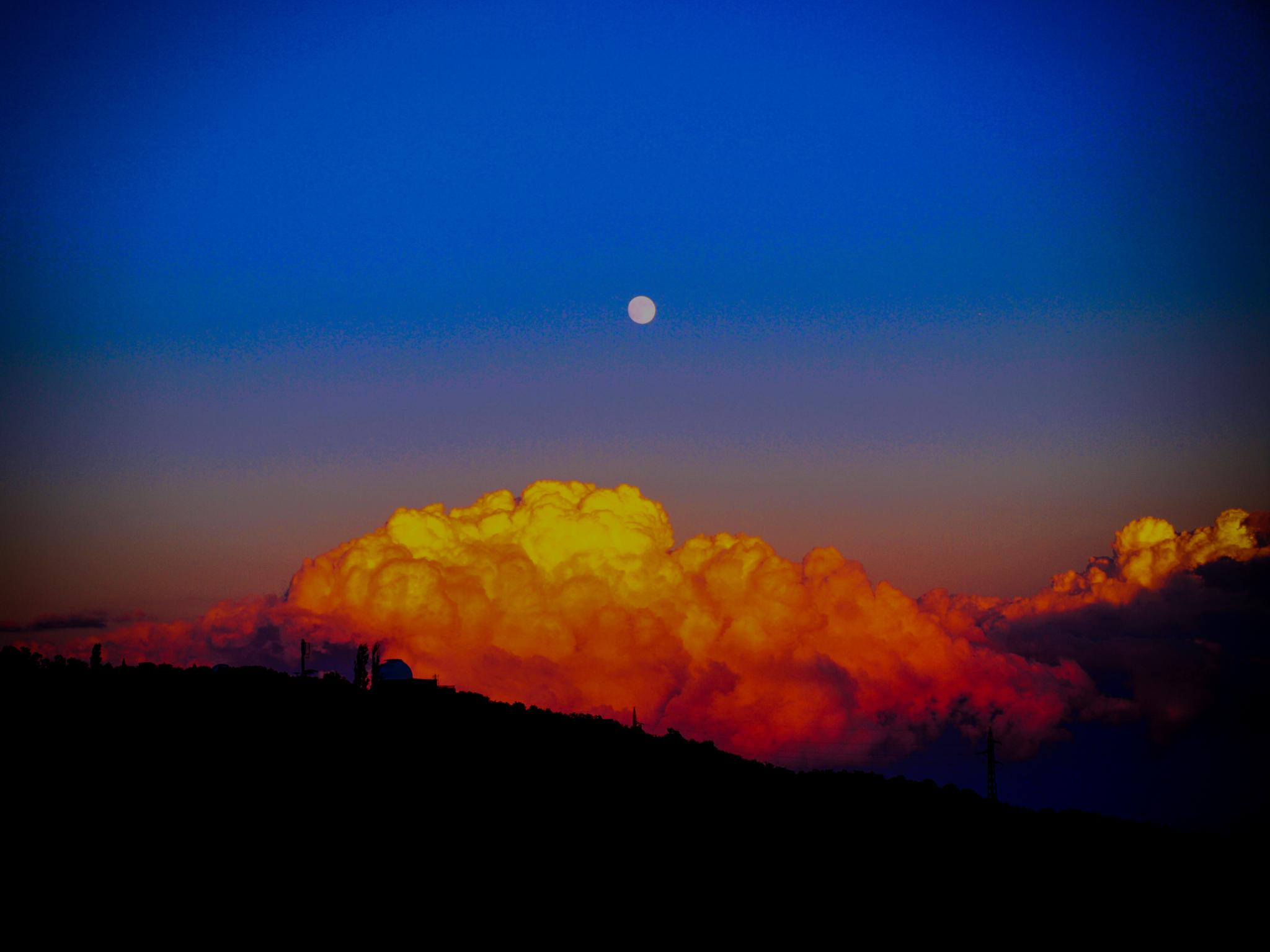 Photo in Random #moonrise #moon #fluffy clouds #clouds #sky #sunset