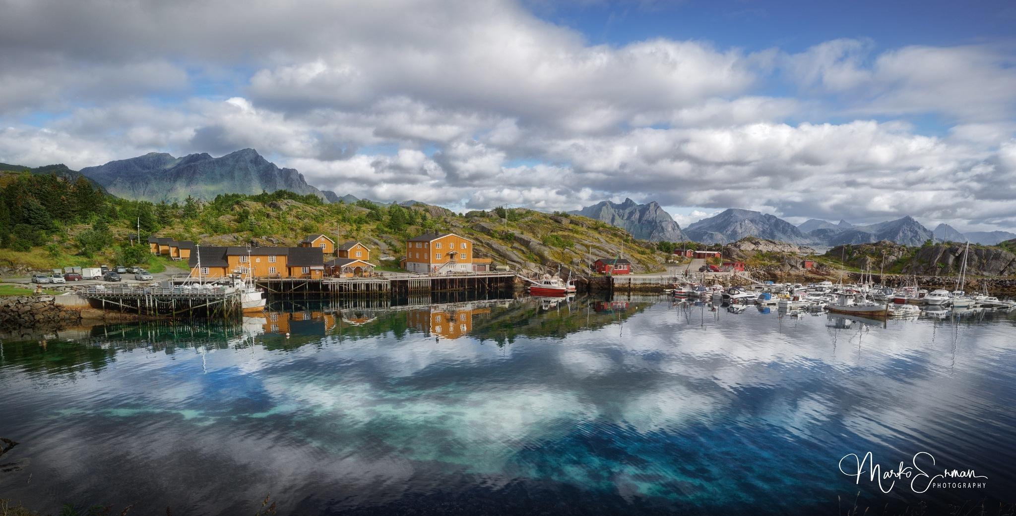Photo in Landscape #stamsund #nordland #lofoten #norway #f #fishermen #village #mountains #sea #reflections #quiet #serenity