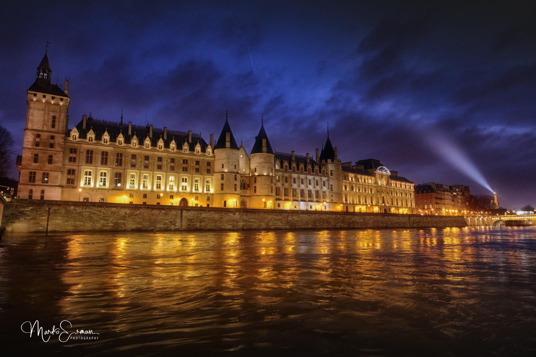Photo in Cityscape #blue hour #paris #dusk #paris by night #seine #la conciergerie #eiffel tower #long exposure #wide angle