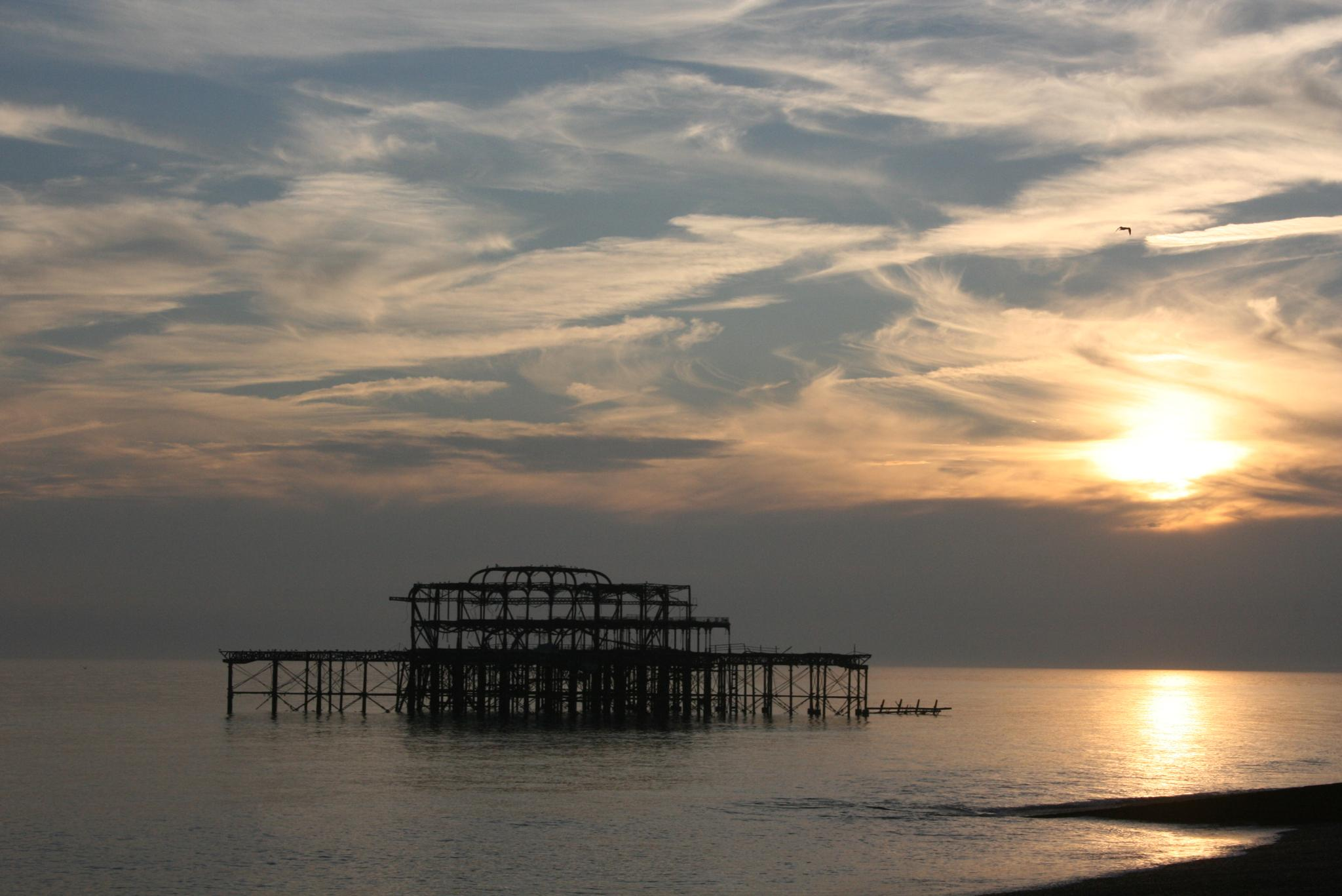 Photo in Sea and Sand #brighton #beach #pier #sunset