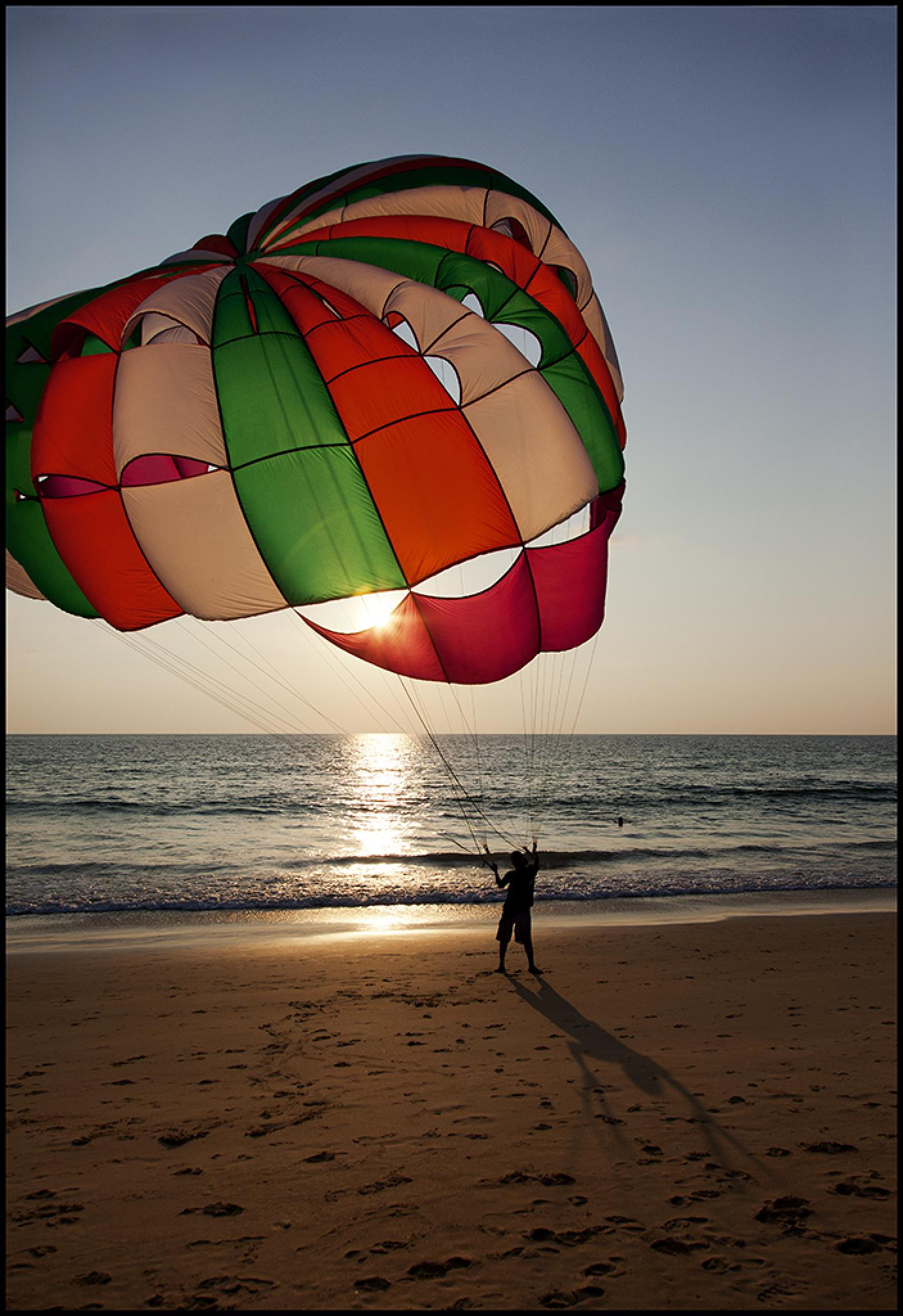 Photo in Sea and Sand #airfoil parachute #sunset #phuket #thailand