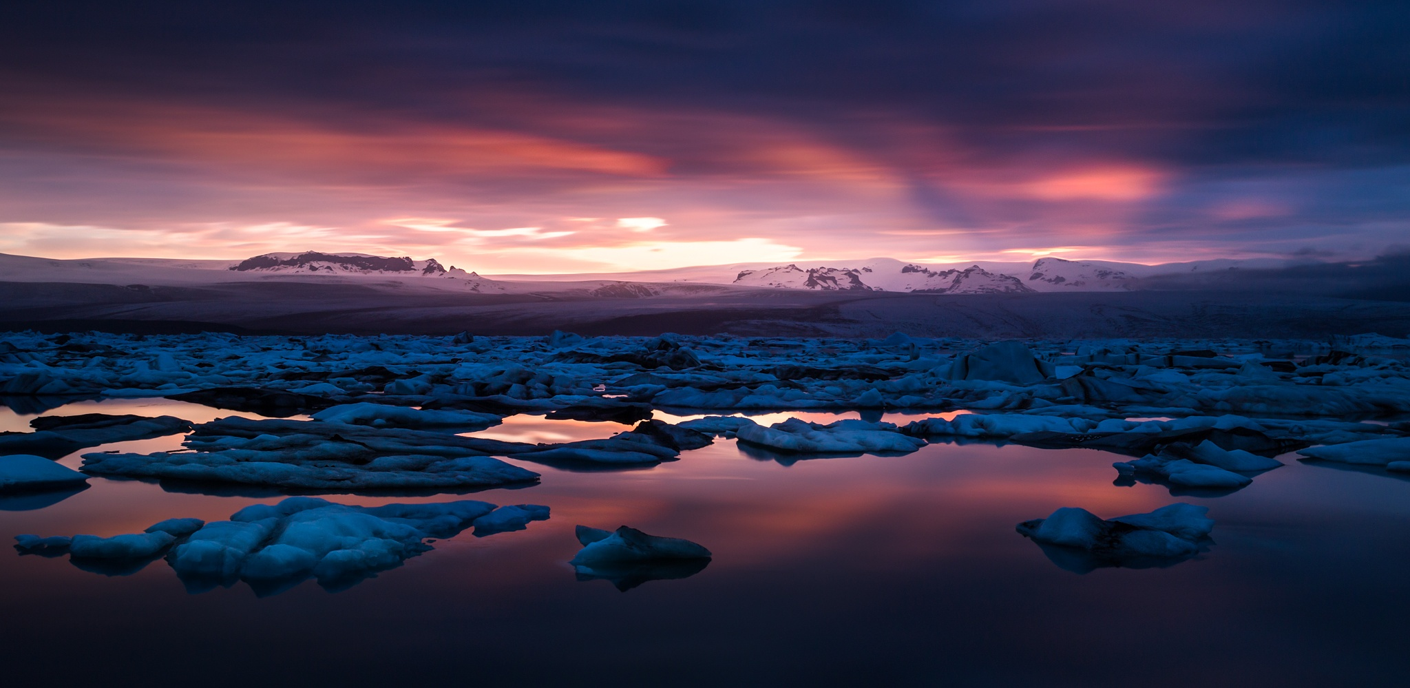 Sunset on Jokulsarlon by jeanjoaquim