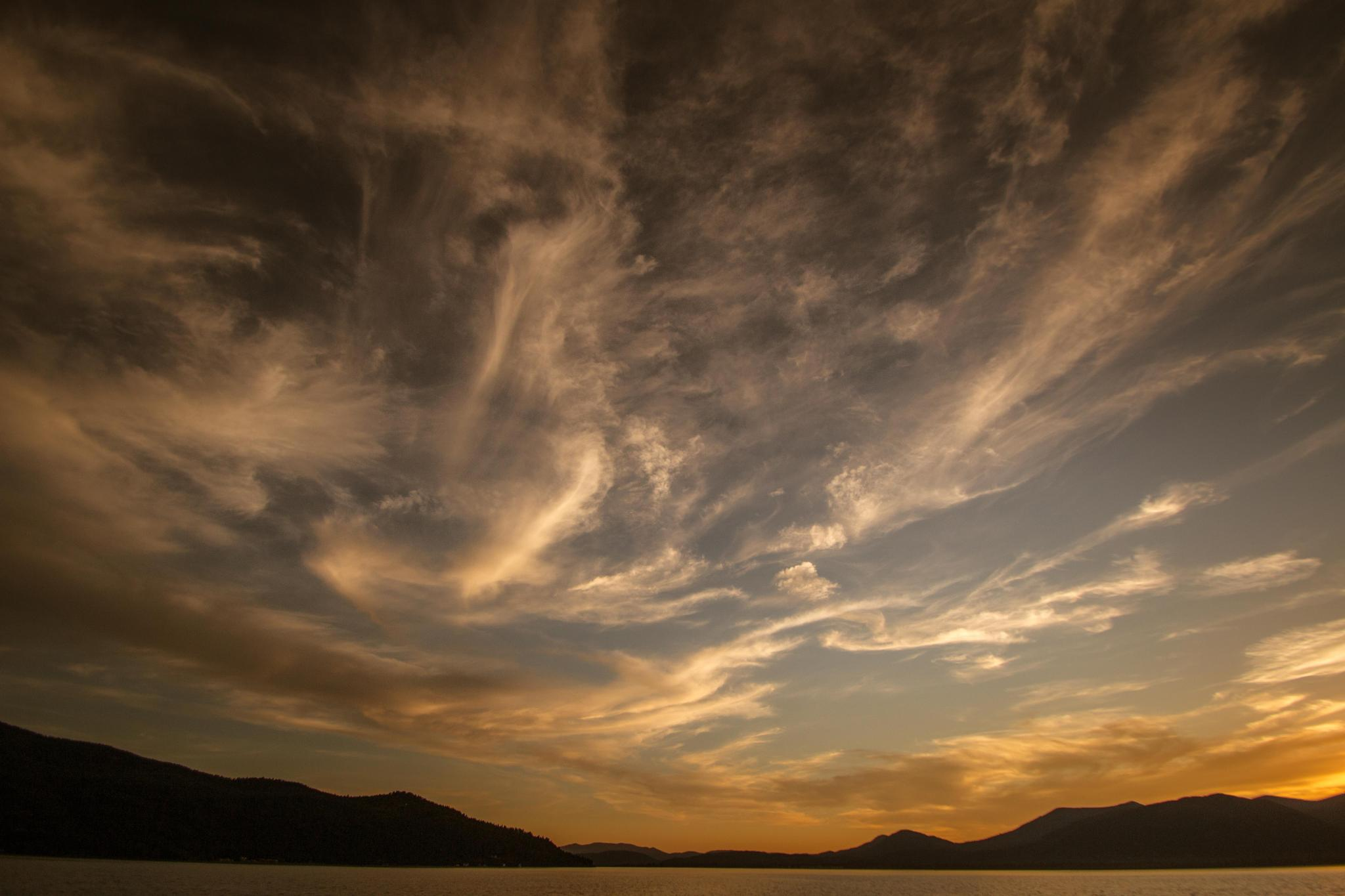 Sunset on the lake #L by Boris Droutman