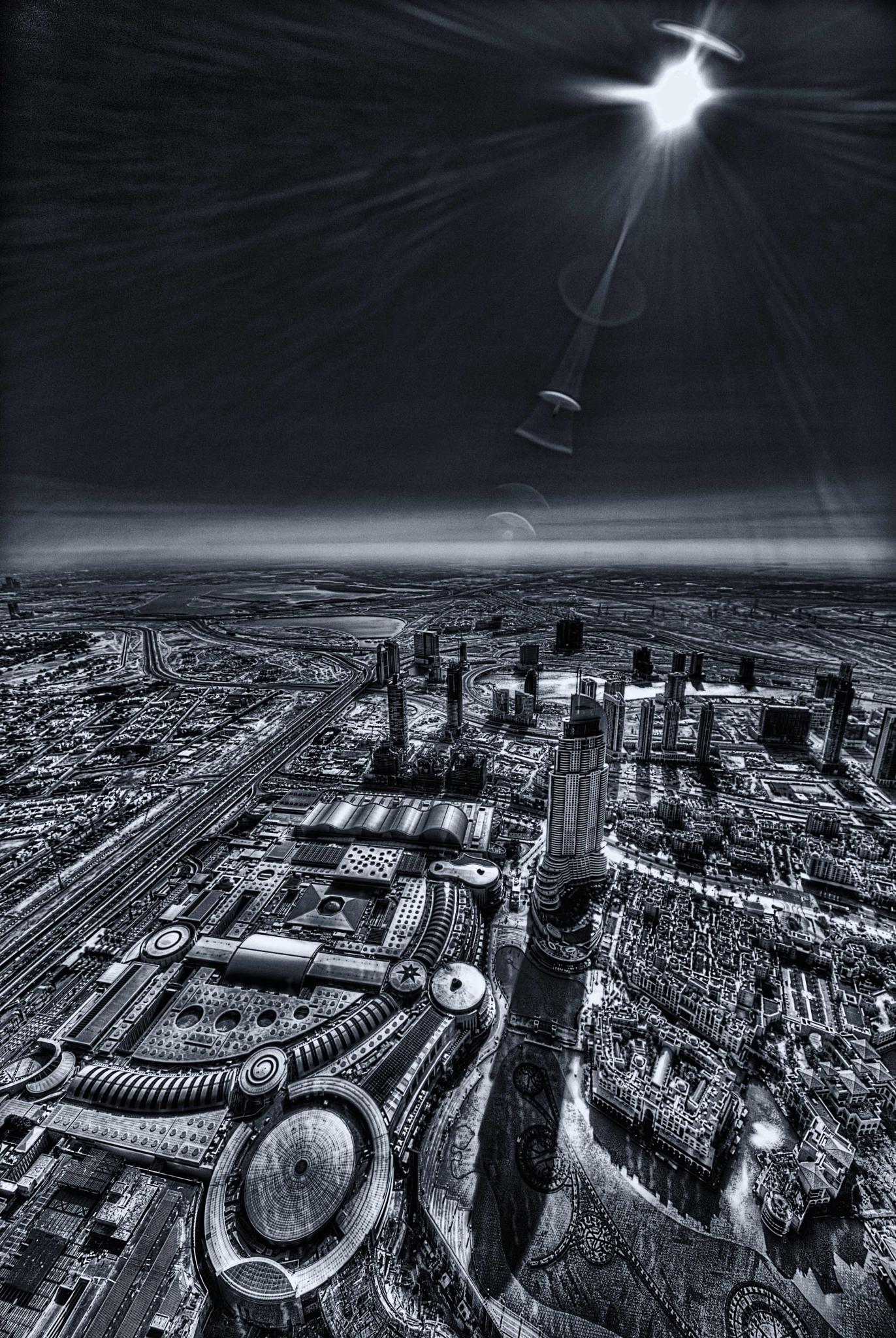 Photo in Cityscape #hr giger #robbil #dubai #burj khalifa #b&w #alien #cityscape