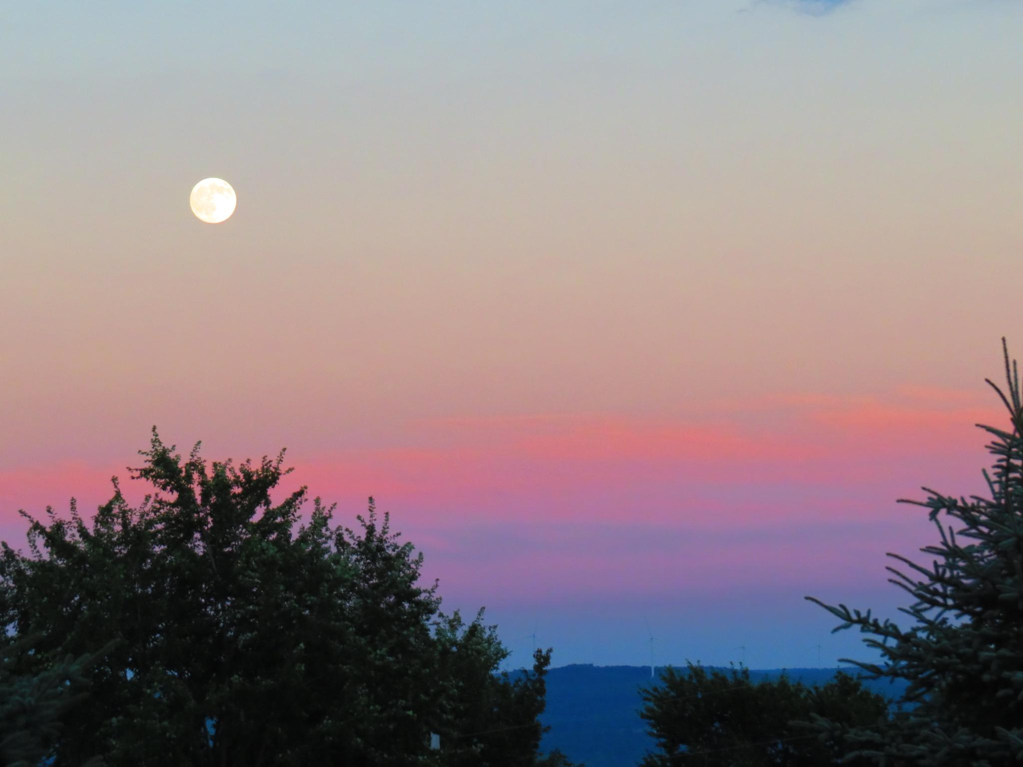 colorful moonrise by Becky Krug