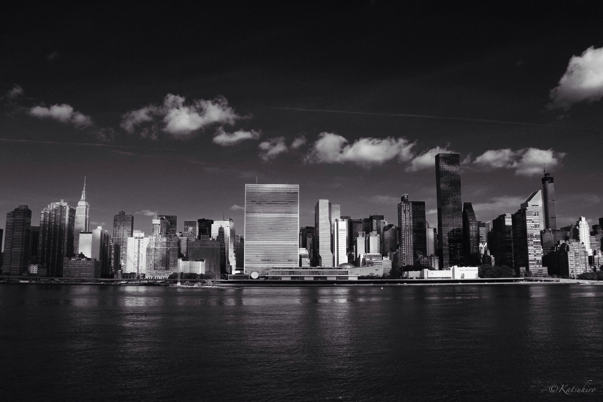 Photo in Cityscape #new york #new york city #nyc #ny #east river #manhattan #long island city #united nations #un #empire state building #midtown east #cityscape #low key #monochrome #black & white #canon eos 60d