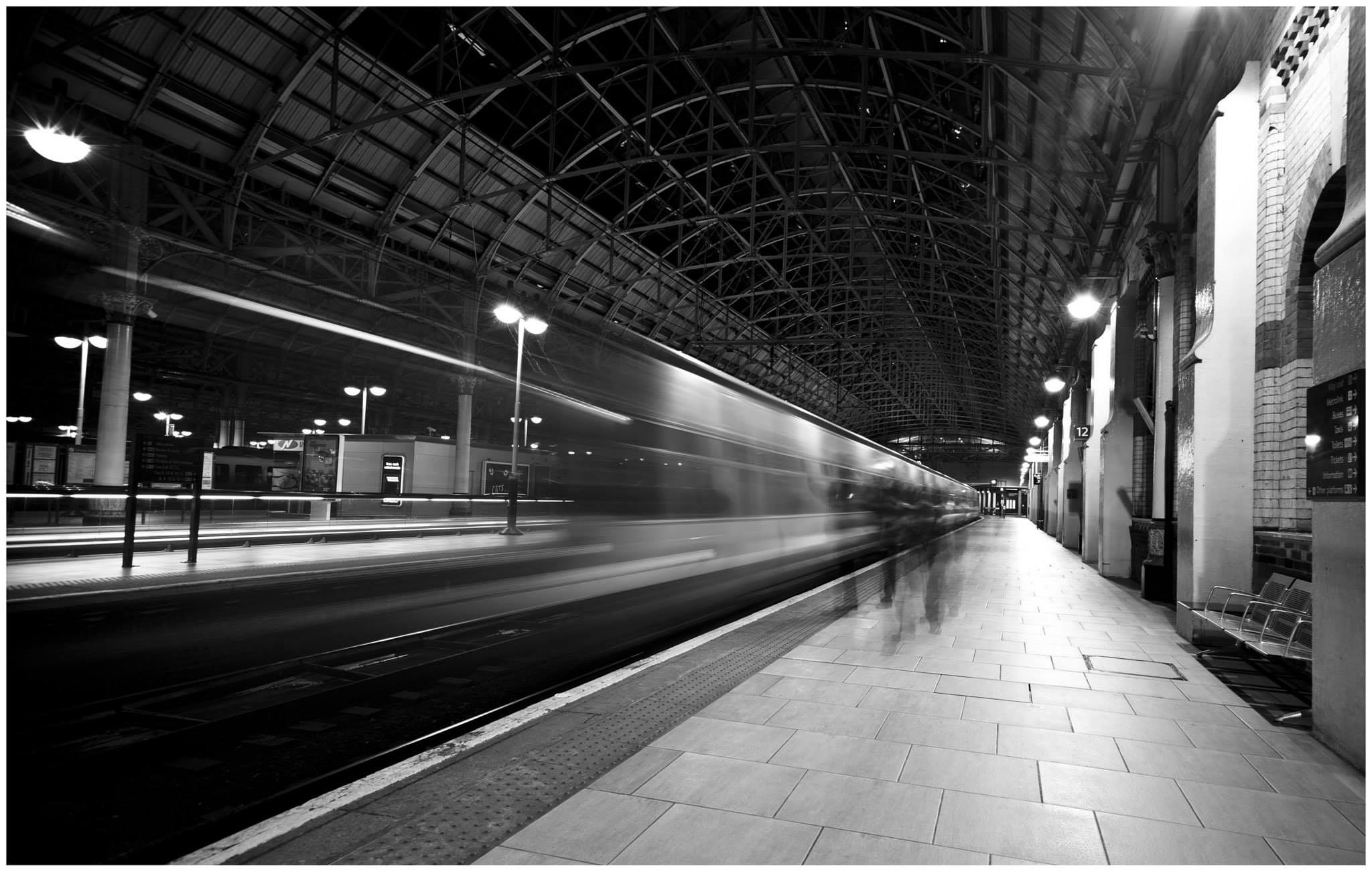 Photo in Urban #mancehster #train #mono #black & white #uk