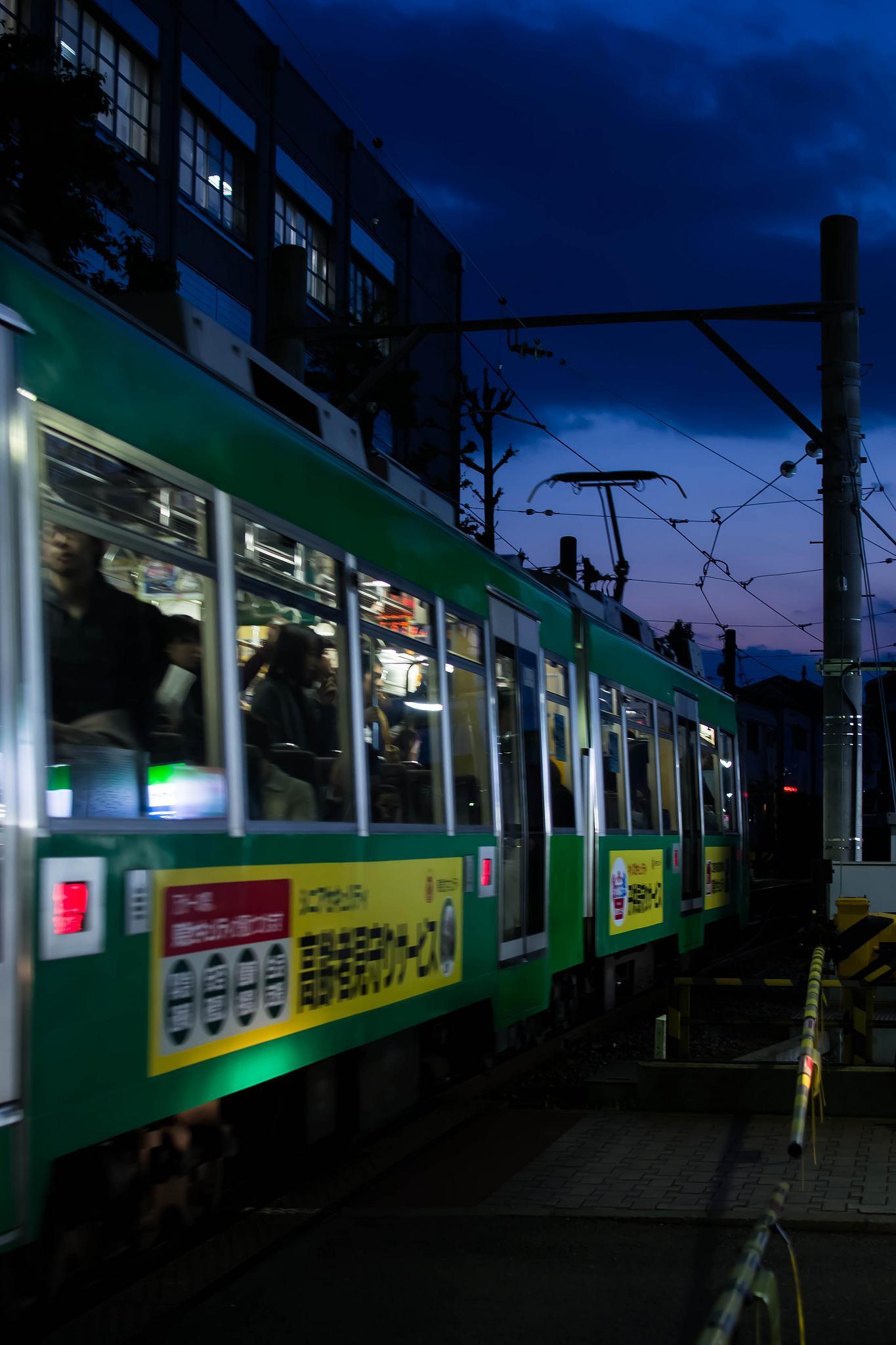 Setagaya Line in the blue hour by Chikako Nobuhara