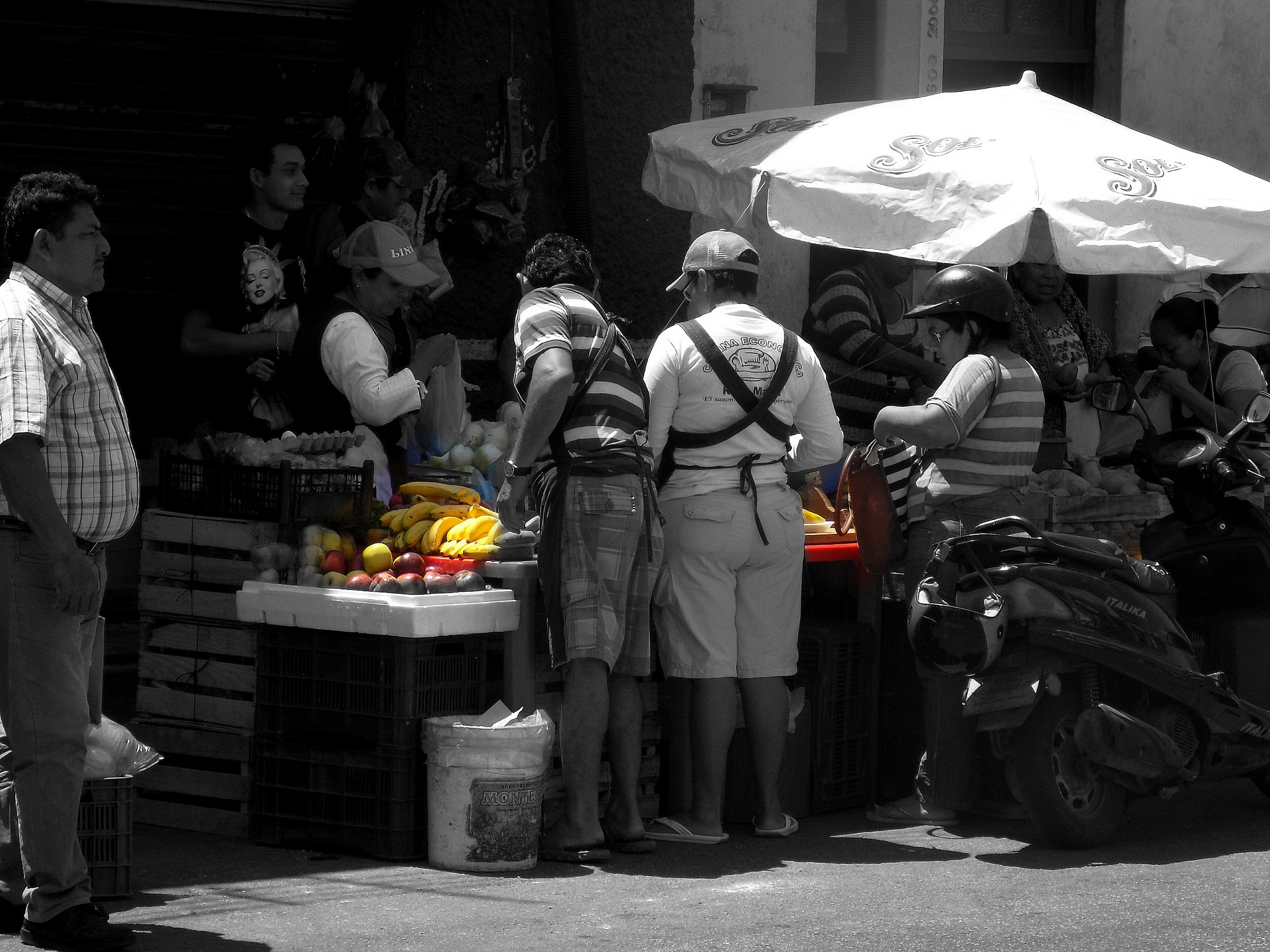 fruit stand and Marilyn by Reid Allan Hanson