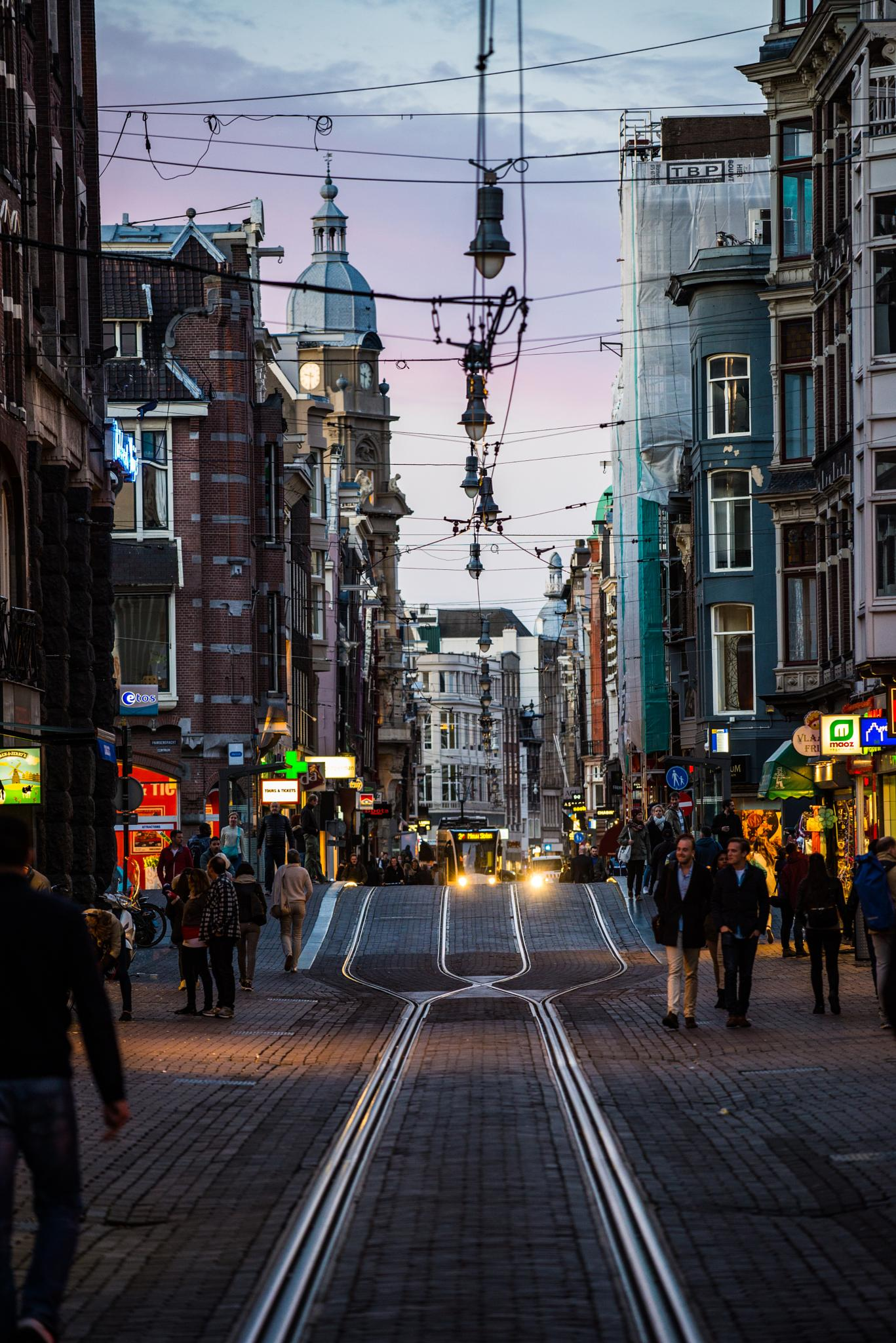 Photo in Travel #amsterdam #evening #street #d600 #tramway #rails #lines #sky