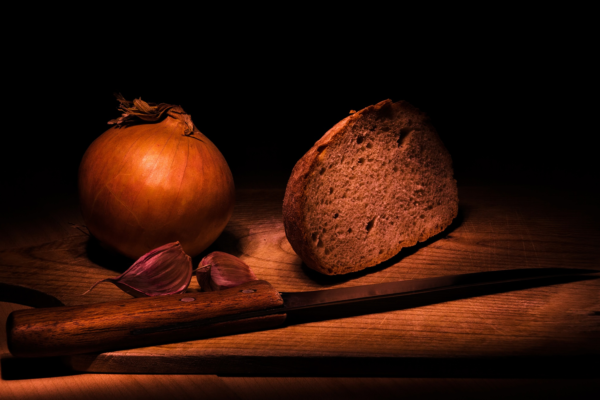 Photo in Fine Art #meal #onion #garlic #bred #knife #painting with light