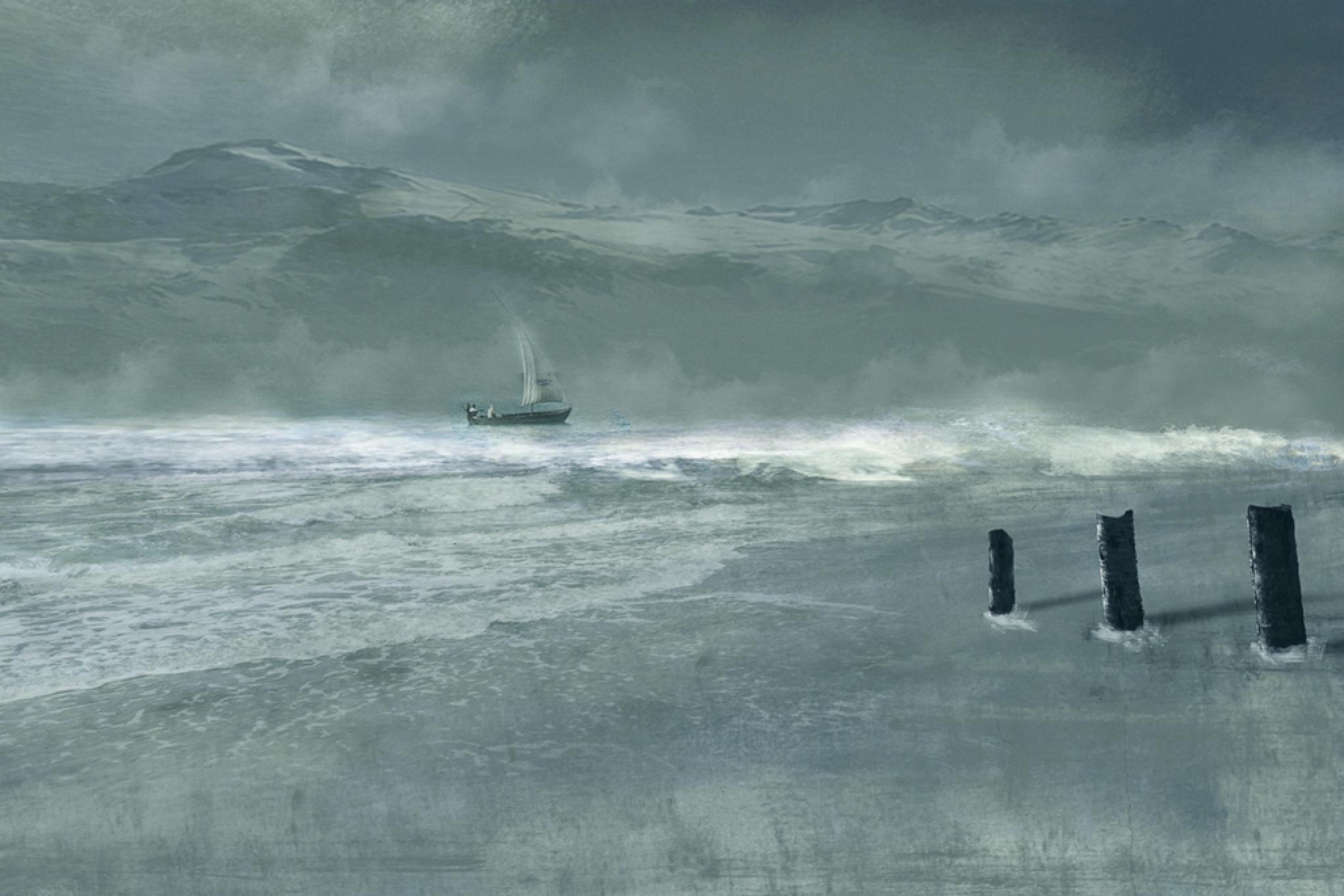 Photo in Fine Art #sailboat #sea #storm #fog #blue #shore