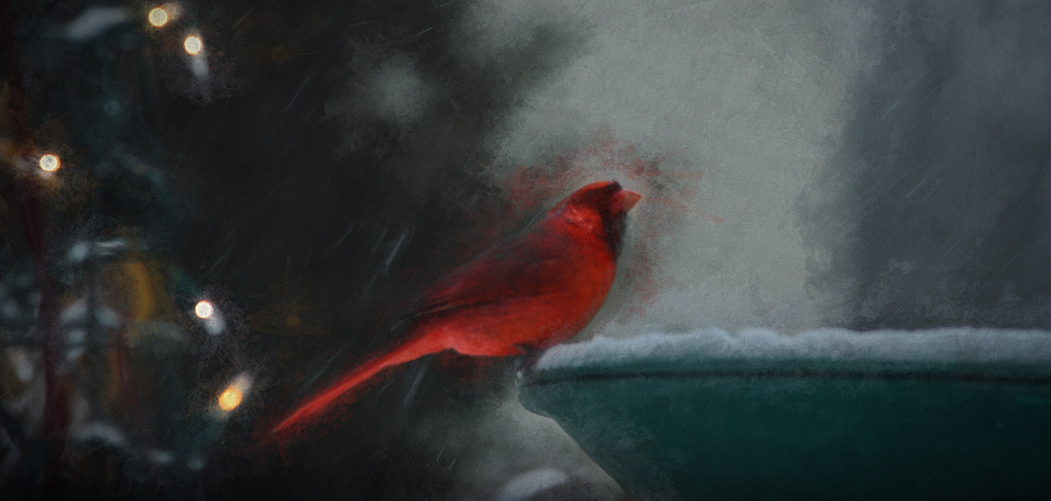 Cardinal in the Storm by JohnEllingson