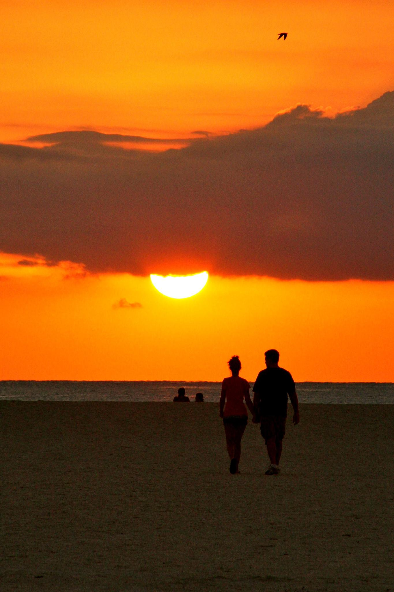 Romantic Couple on a Beach at Sunset by Jason R. Rich