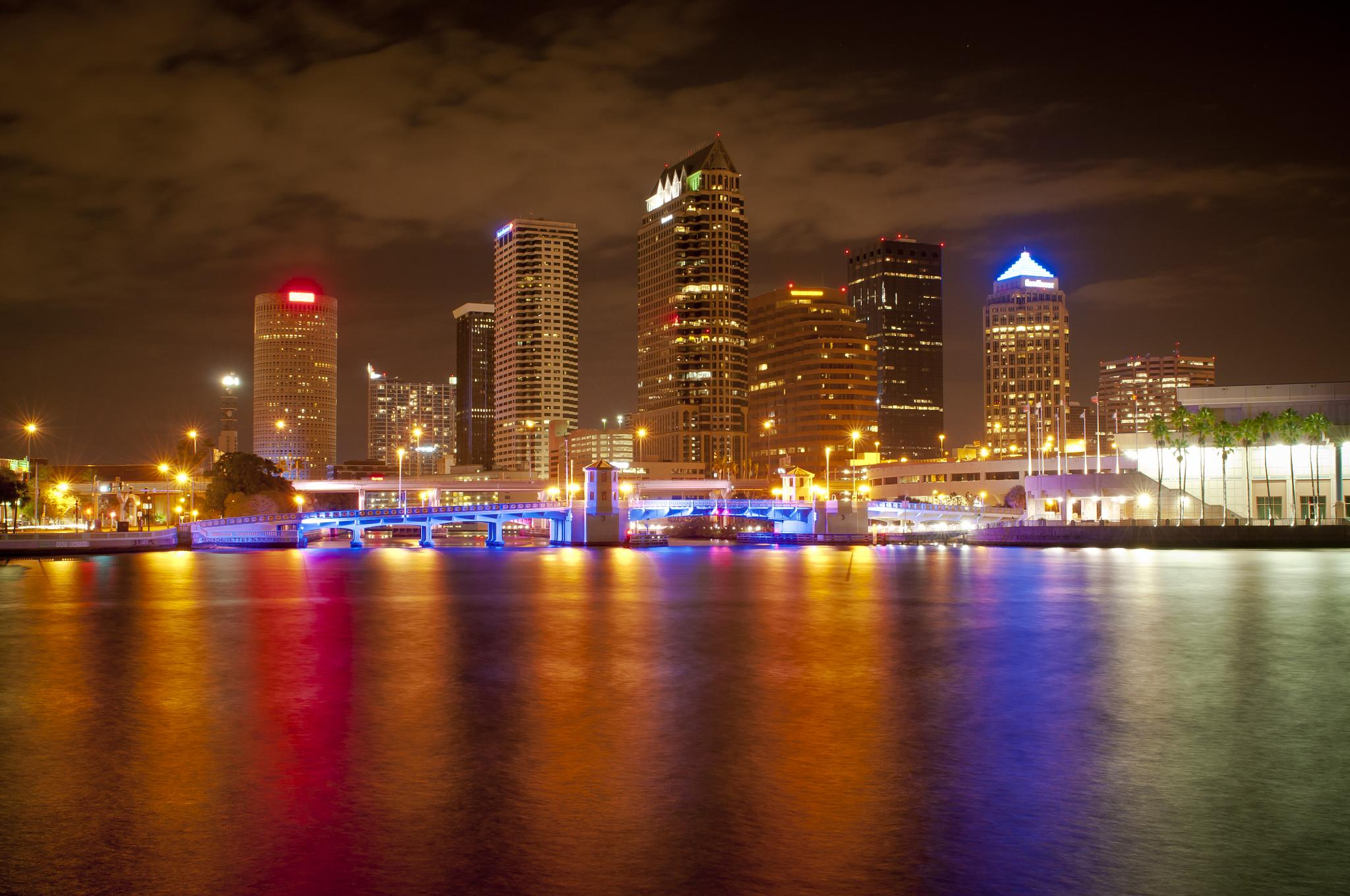 Photo in Cityscape #tampa #florida #downtown #skyline #city #lighted bridges #cityscape