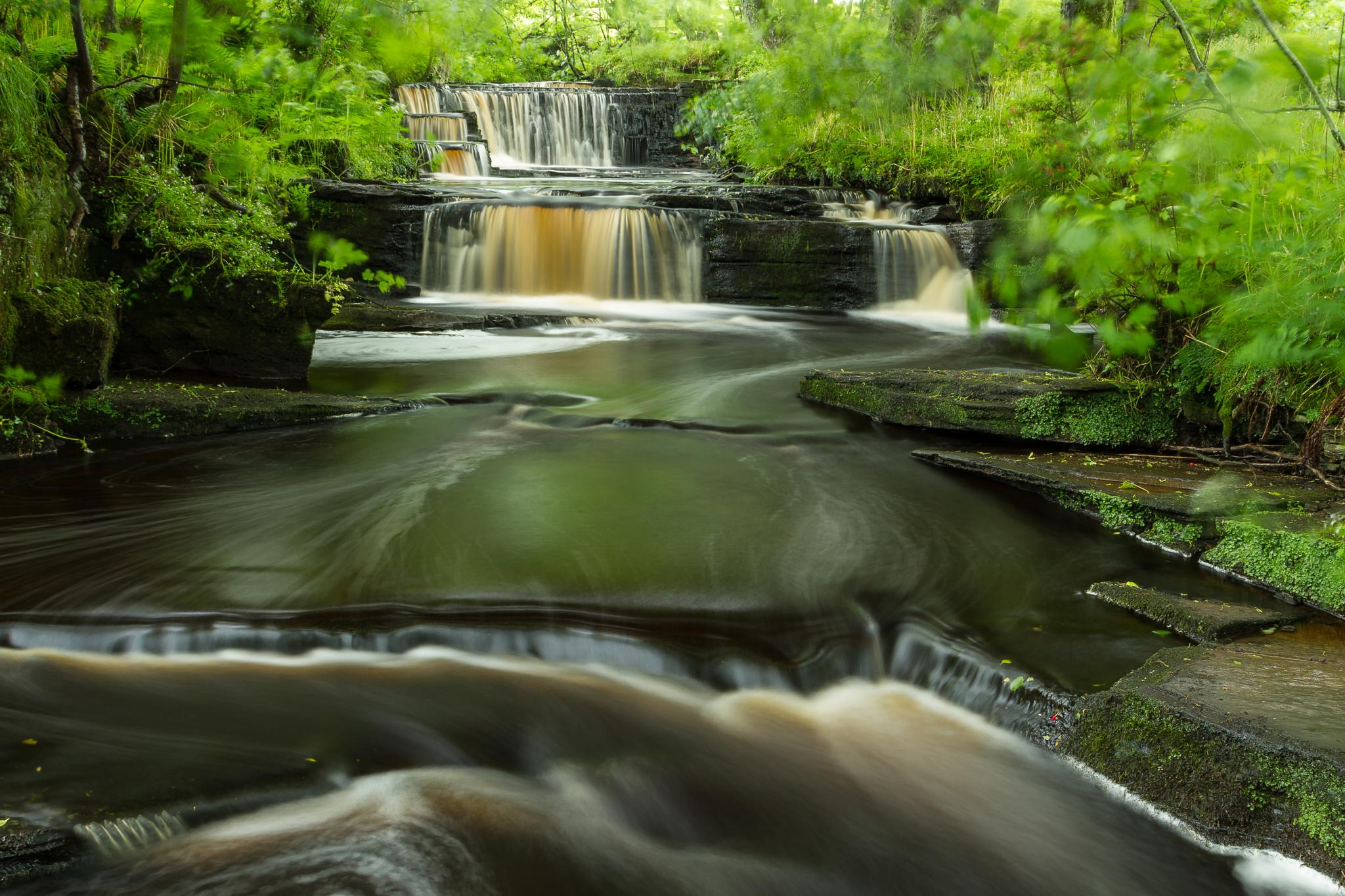 Photo in Landscape #waterfall #river #trees #woodland #leaves #polariser #nd filter #reflection