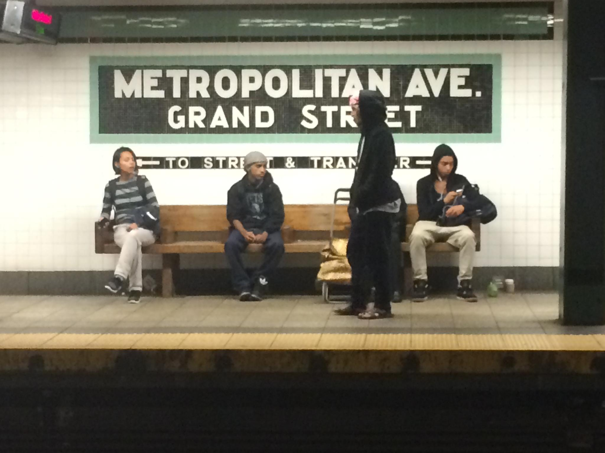 G train stop on the NYC subway. by Owen Kelly