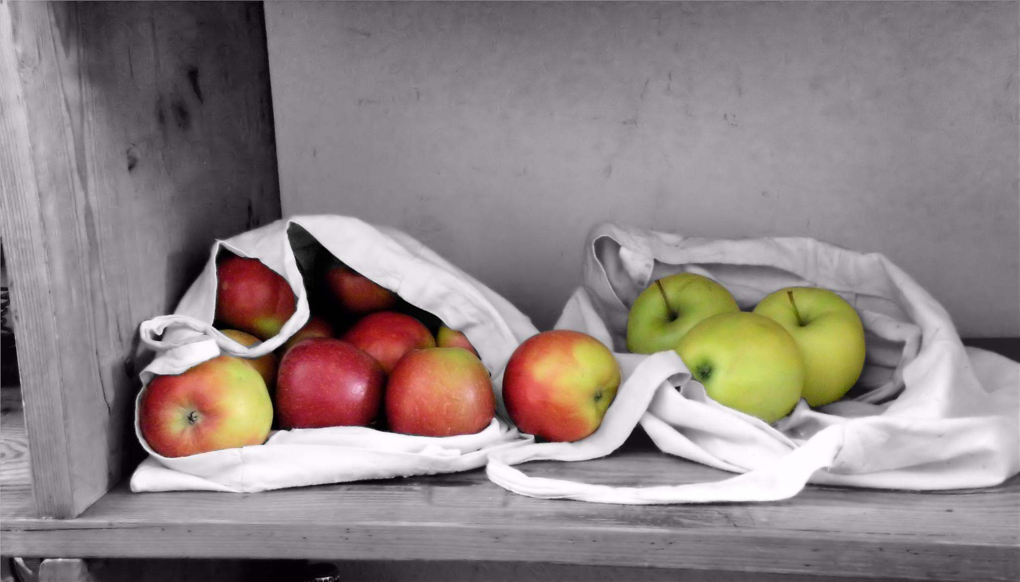 Photo in Food #apples #fruit #b&w #color