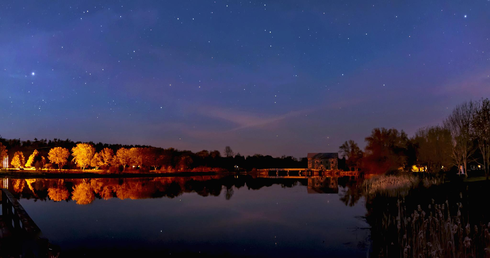 Lang Mill pond at night by Dave Bremner