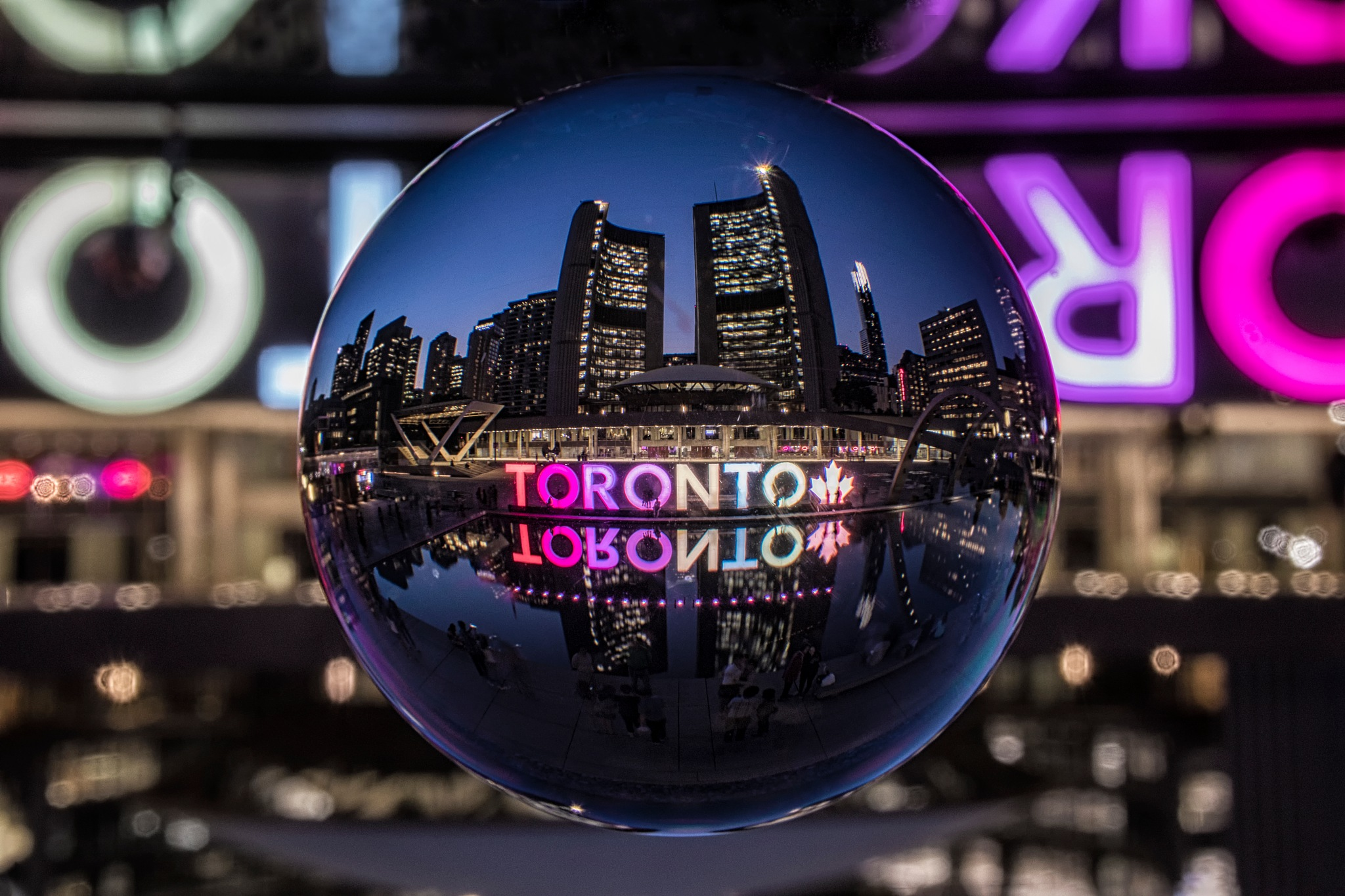 Toronto City Hall Refracted by Dave Bremner