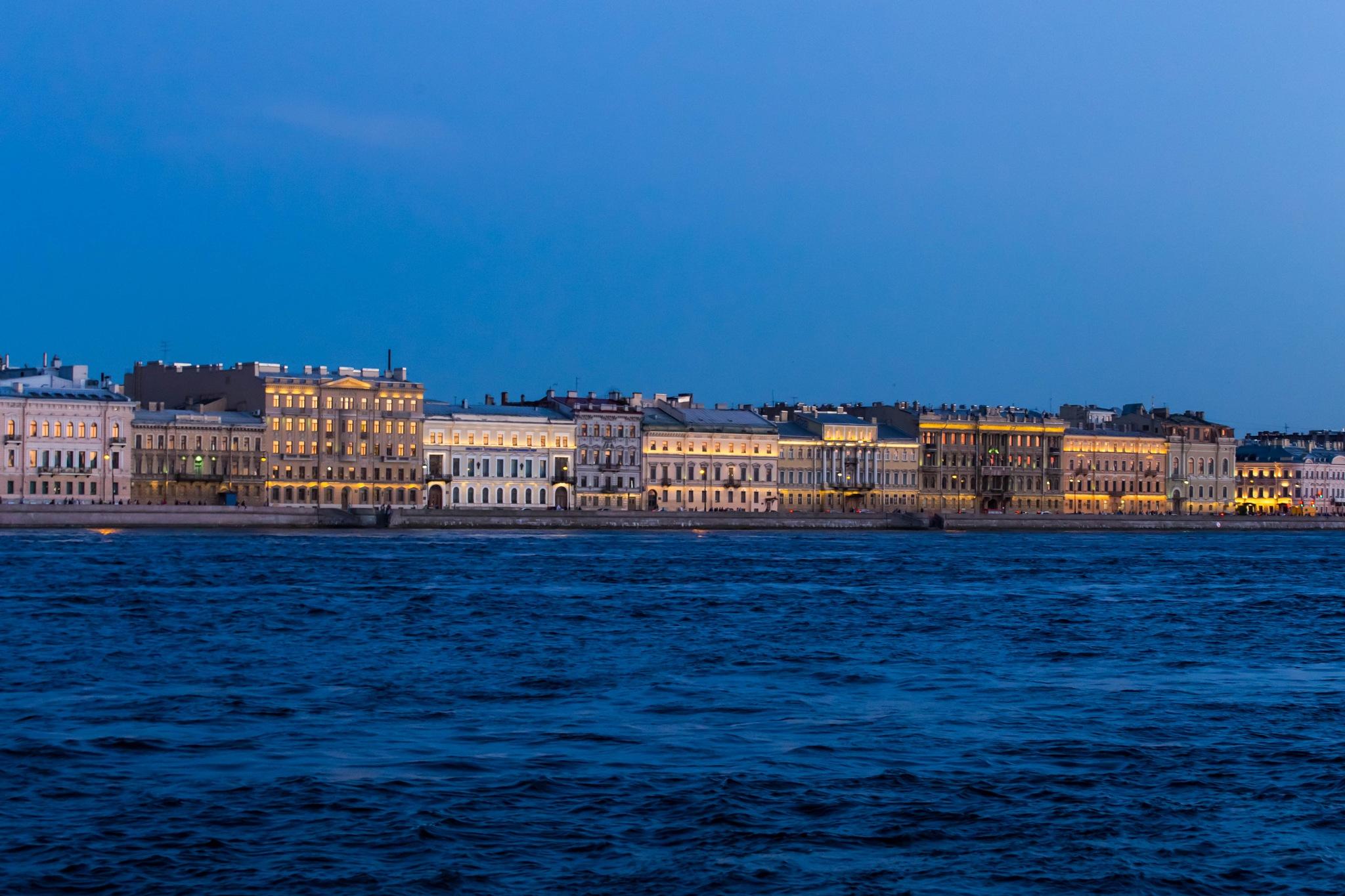 St. Petersburg embankment at dusk by aquareele
