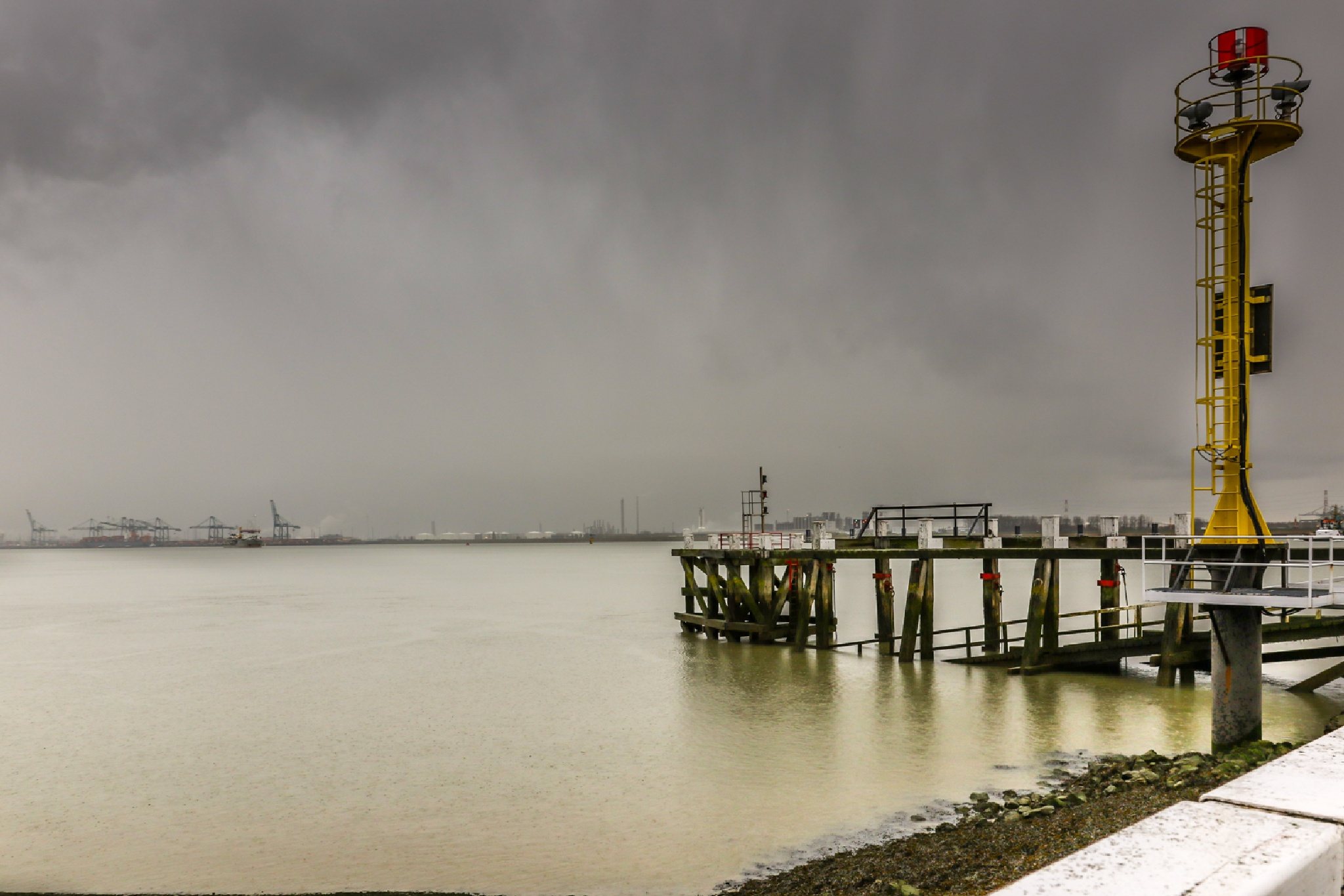 port of Antwerp on the background by Ronny Andries