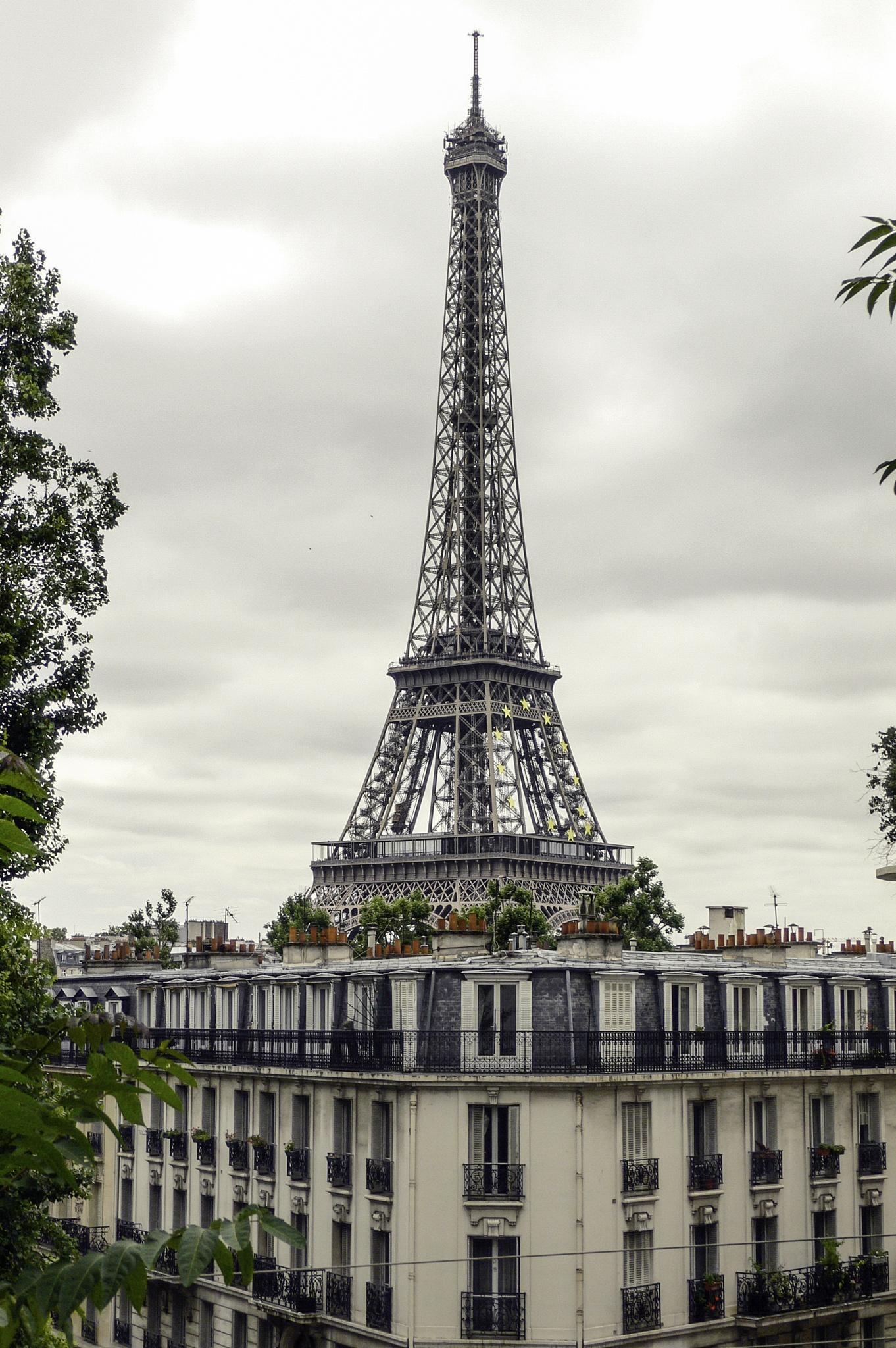 Eiffel tower over brick chimneys, Paris by Martine de Lajudie