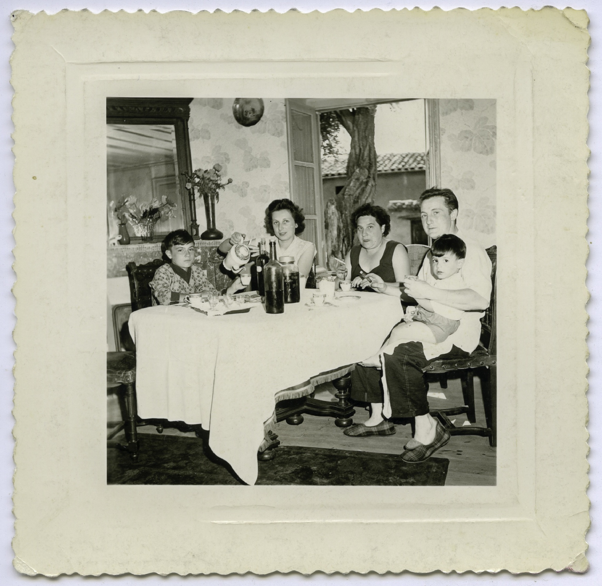 French Sunday noon meal in the 1950s  by Martine de Lajudie