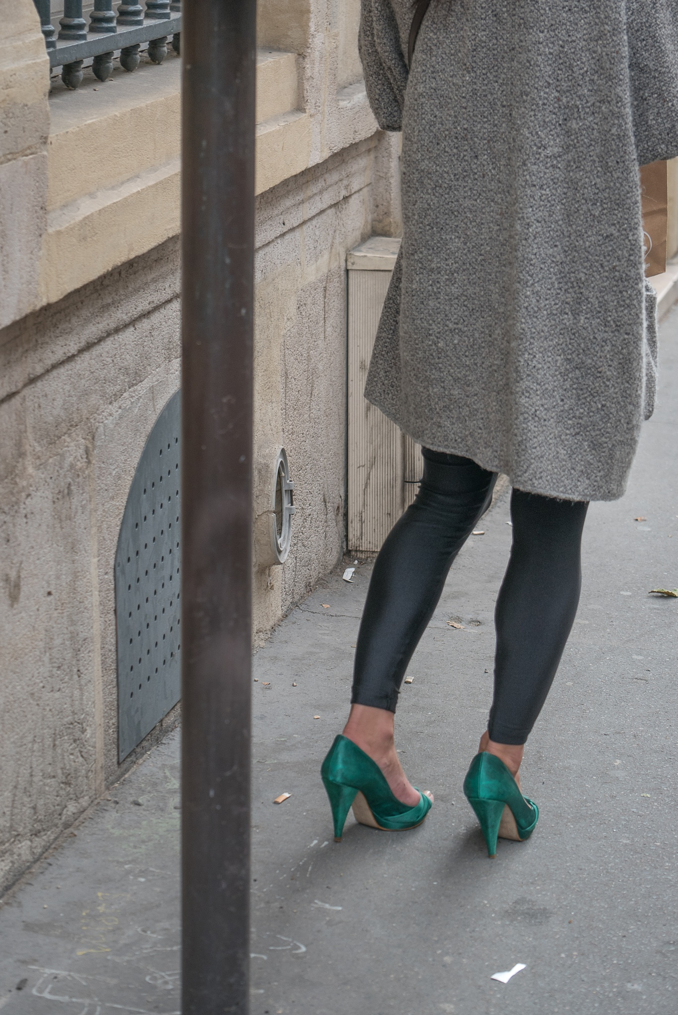Bright green shoes in Paris by Martine de Lajudie