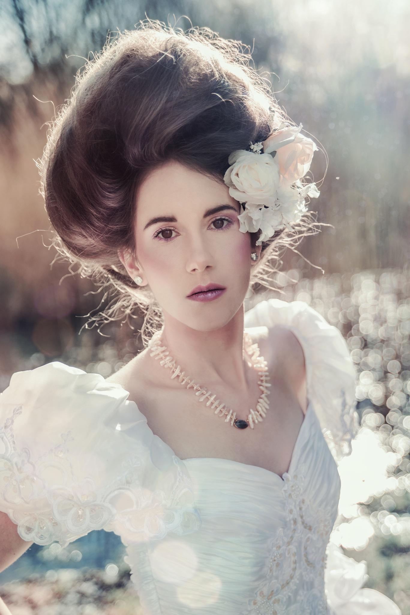 Photo in Portrait #hair #light #girl #flowers #sunlight #woman #white dress #necklace #stare #innocence #extravagant elegance