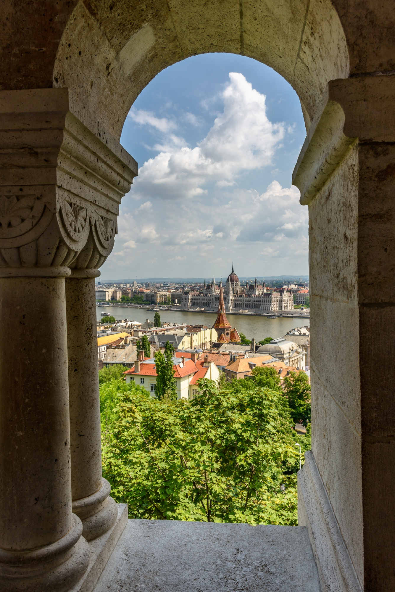 View of Hungarian Parliament Building from Matthias Church by Steve Director
