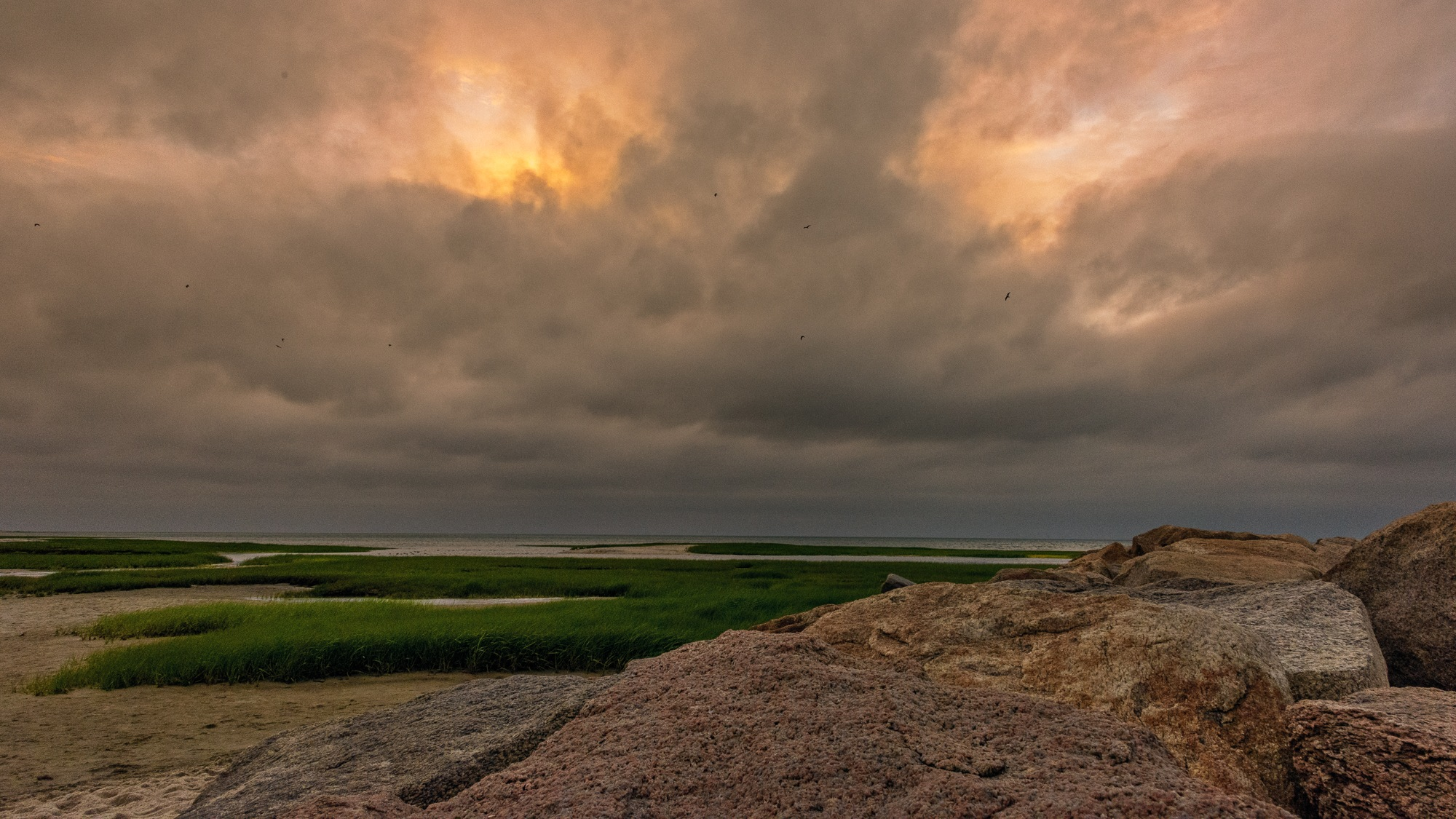 Cloudy Sunset at Paines Creek Landing on Cape Cod by Steve Director