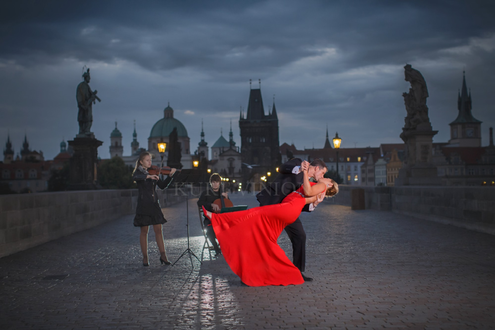 The dance atop the Charles Bridge by vinion