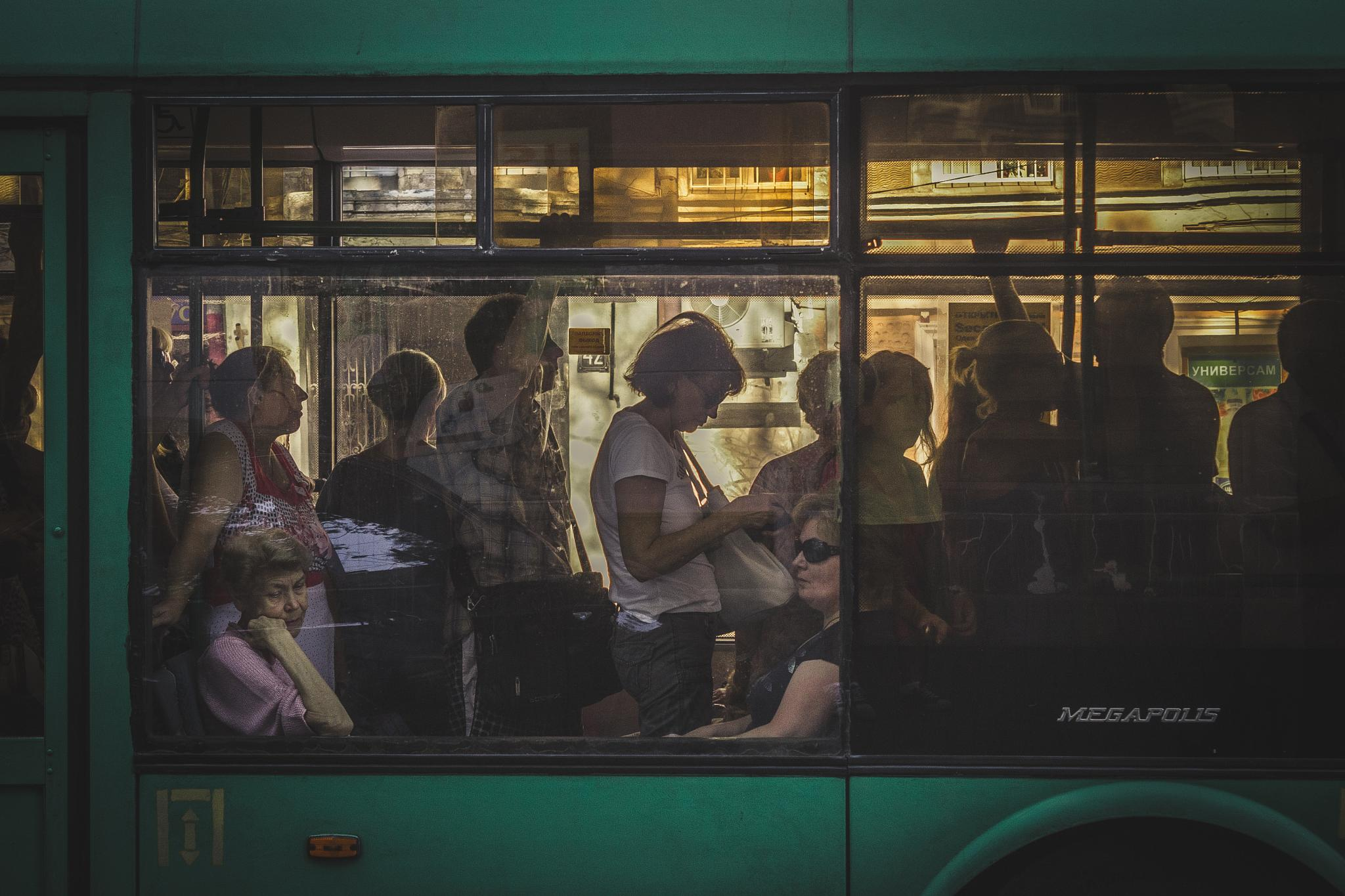 Bus with people in Odessa by Andriy Medyna
